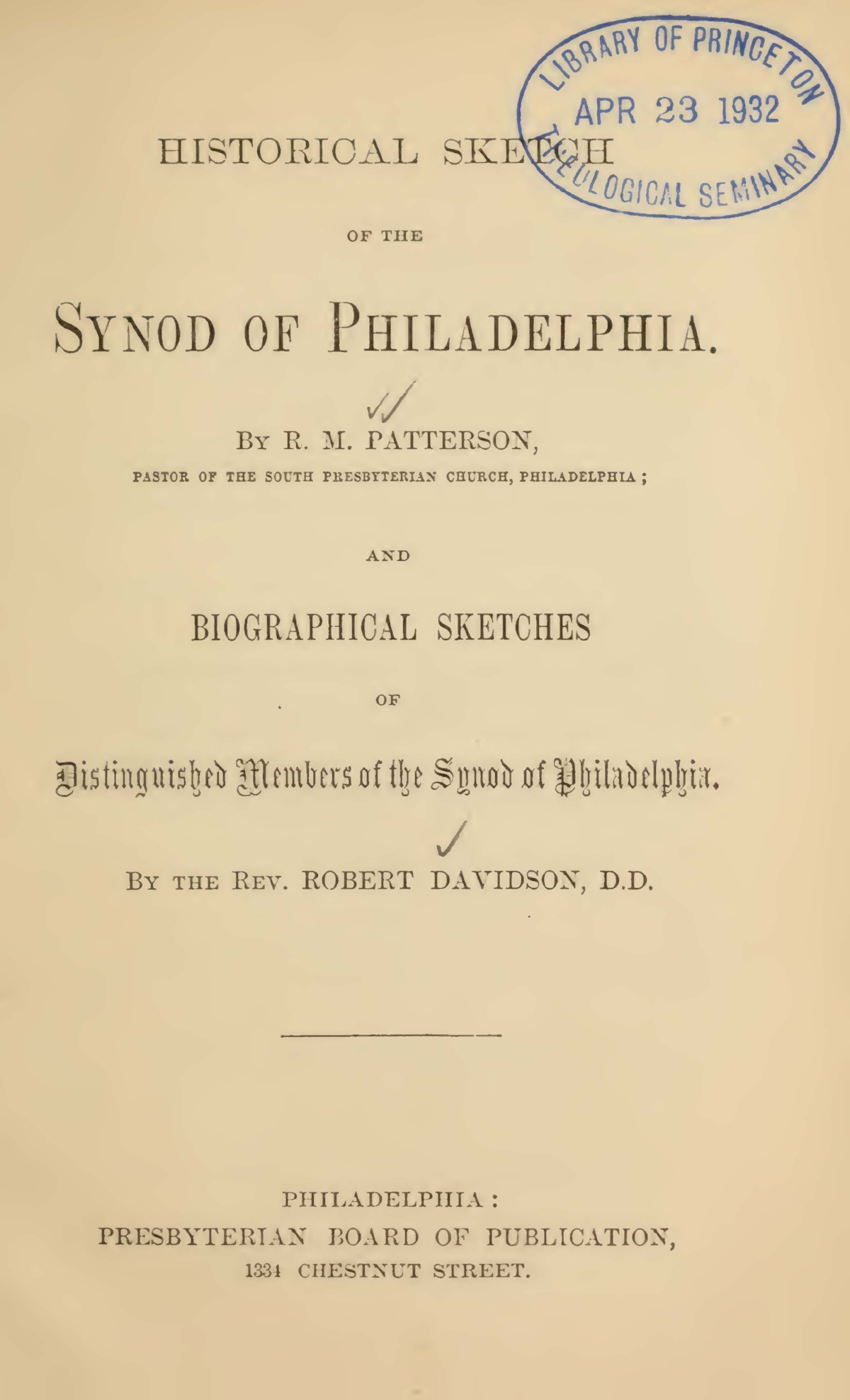 Davidson, Robert, Historical Sketch of the Synod of Philadelphia Title Page.jpg