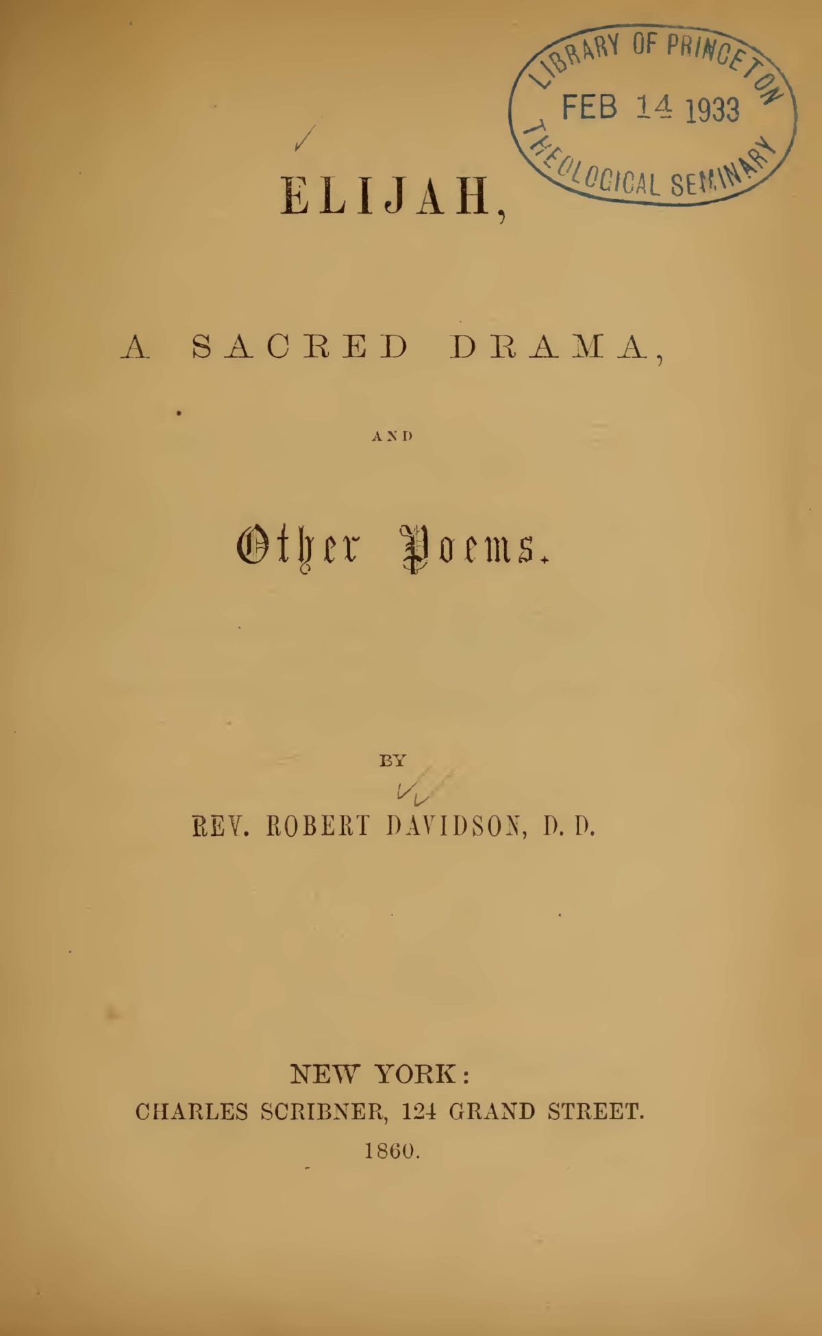 Davidson, Robert, Elijah A Sacred Drama and Other Poems Title Page.jpg