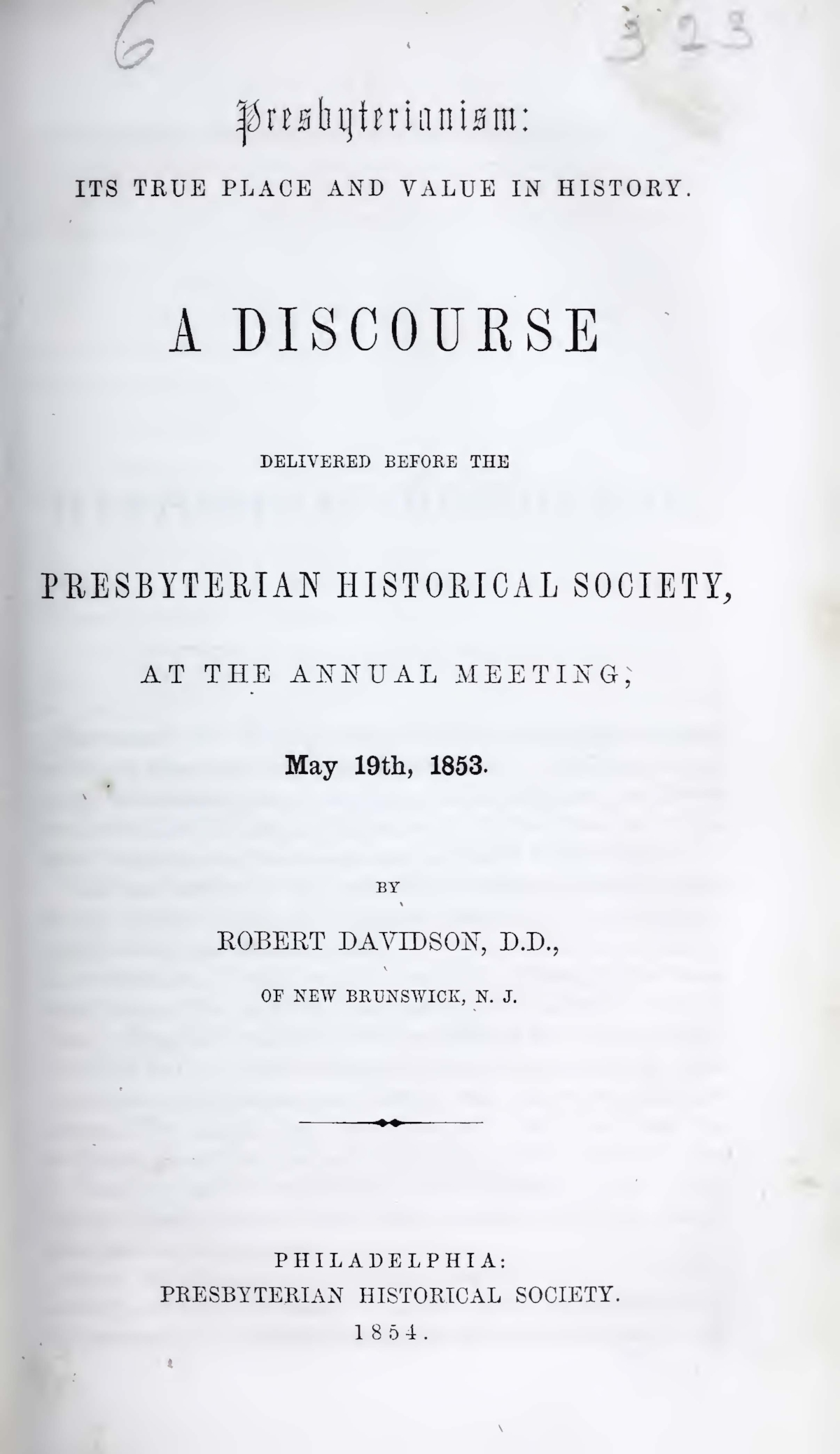 Davidson, Robert, Presbyterianism Its True Place and Value in History Title Page.jpg