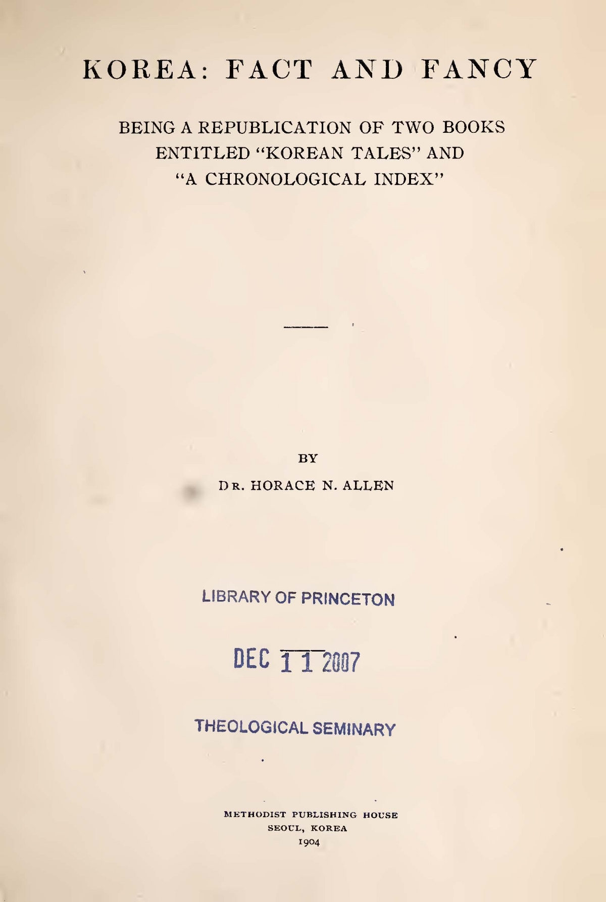 Allen, Horace Newton, Korea Fact and Fancy Title Page.jpg