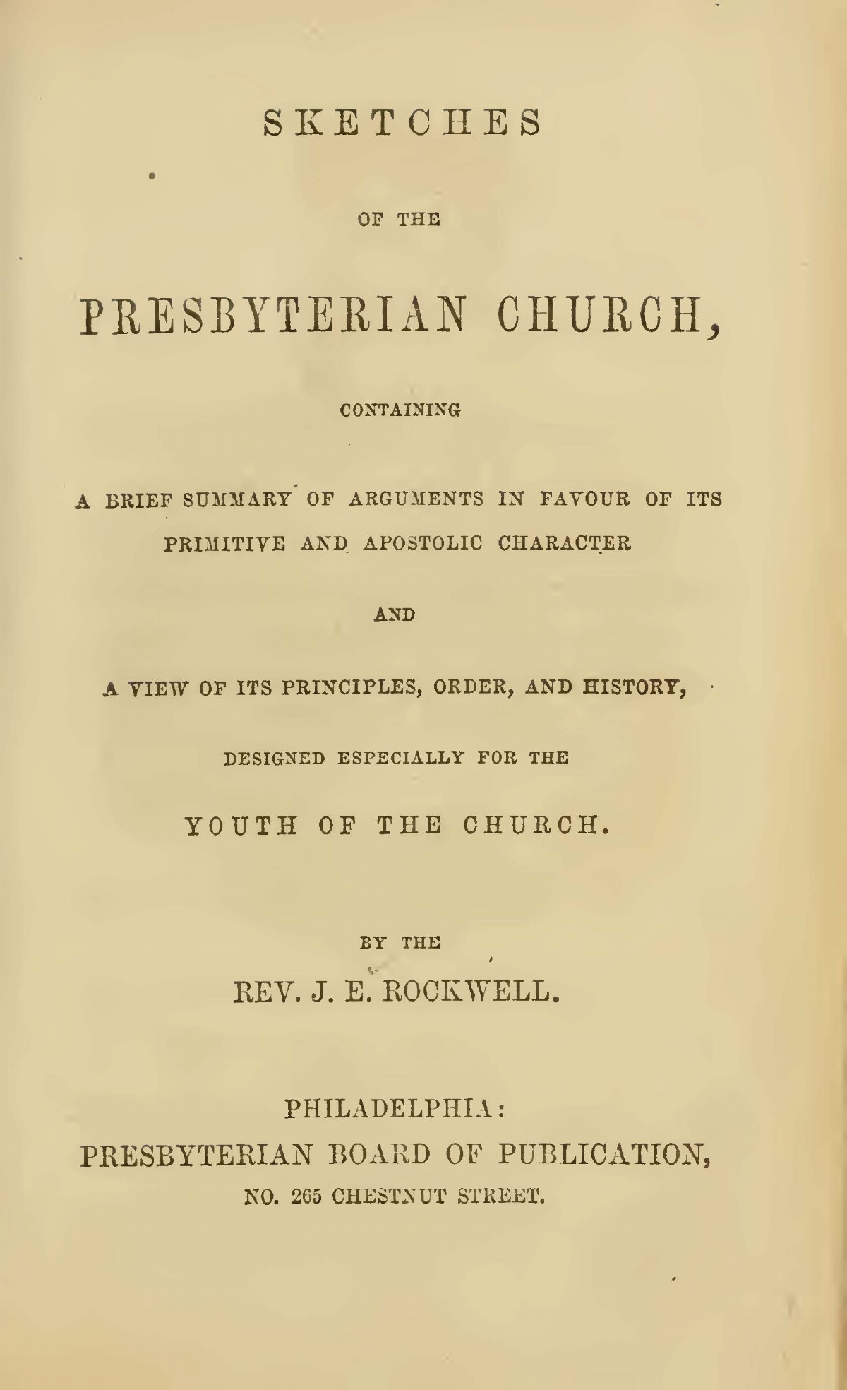 Rockwell, Joel Edson, Sketches of the Presbyterian Church Title Page.jpg