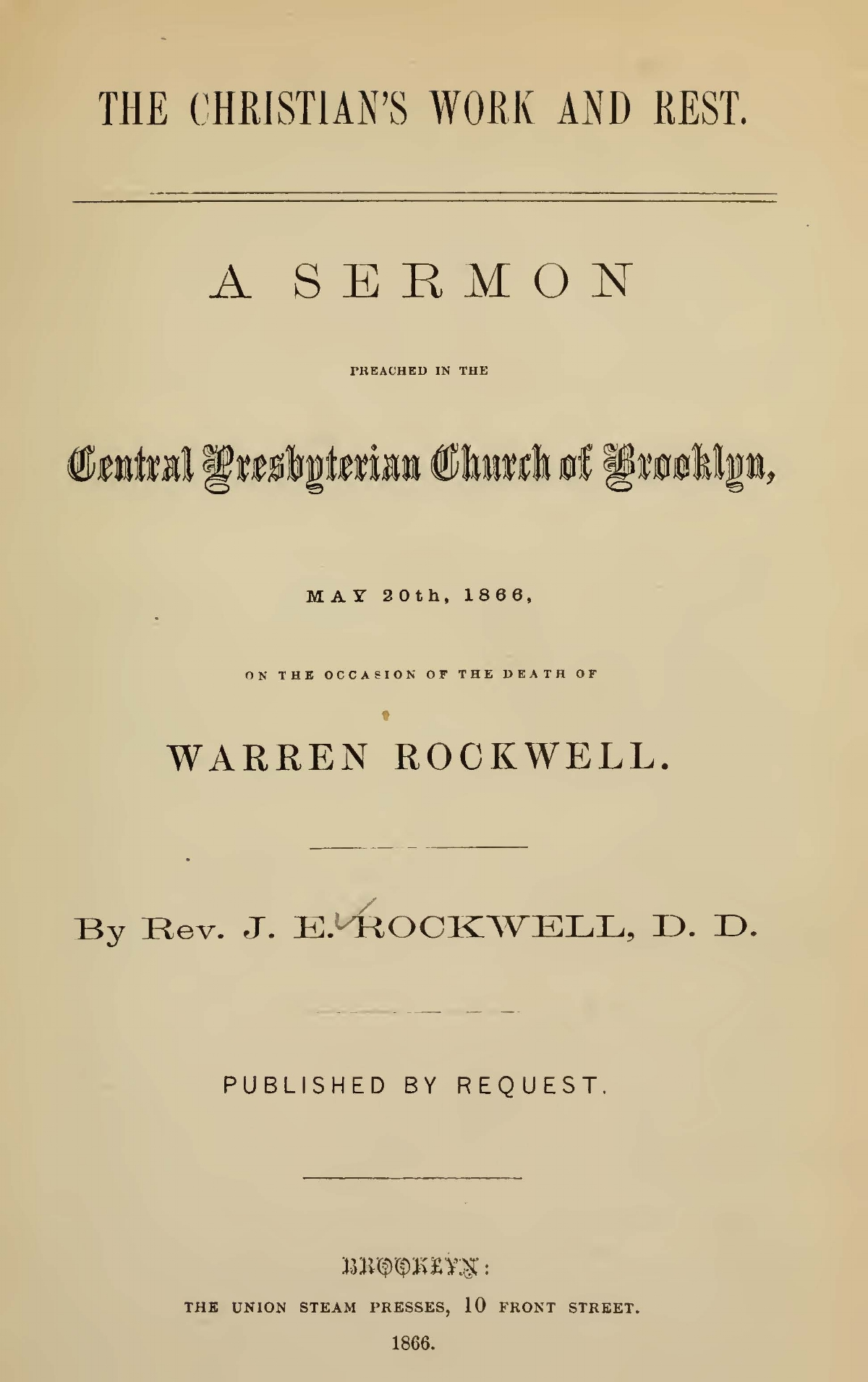 Rockwell, Joel Edson, The Christian's Work and Rest Title Page.jpg