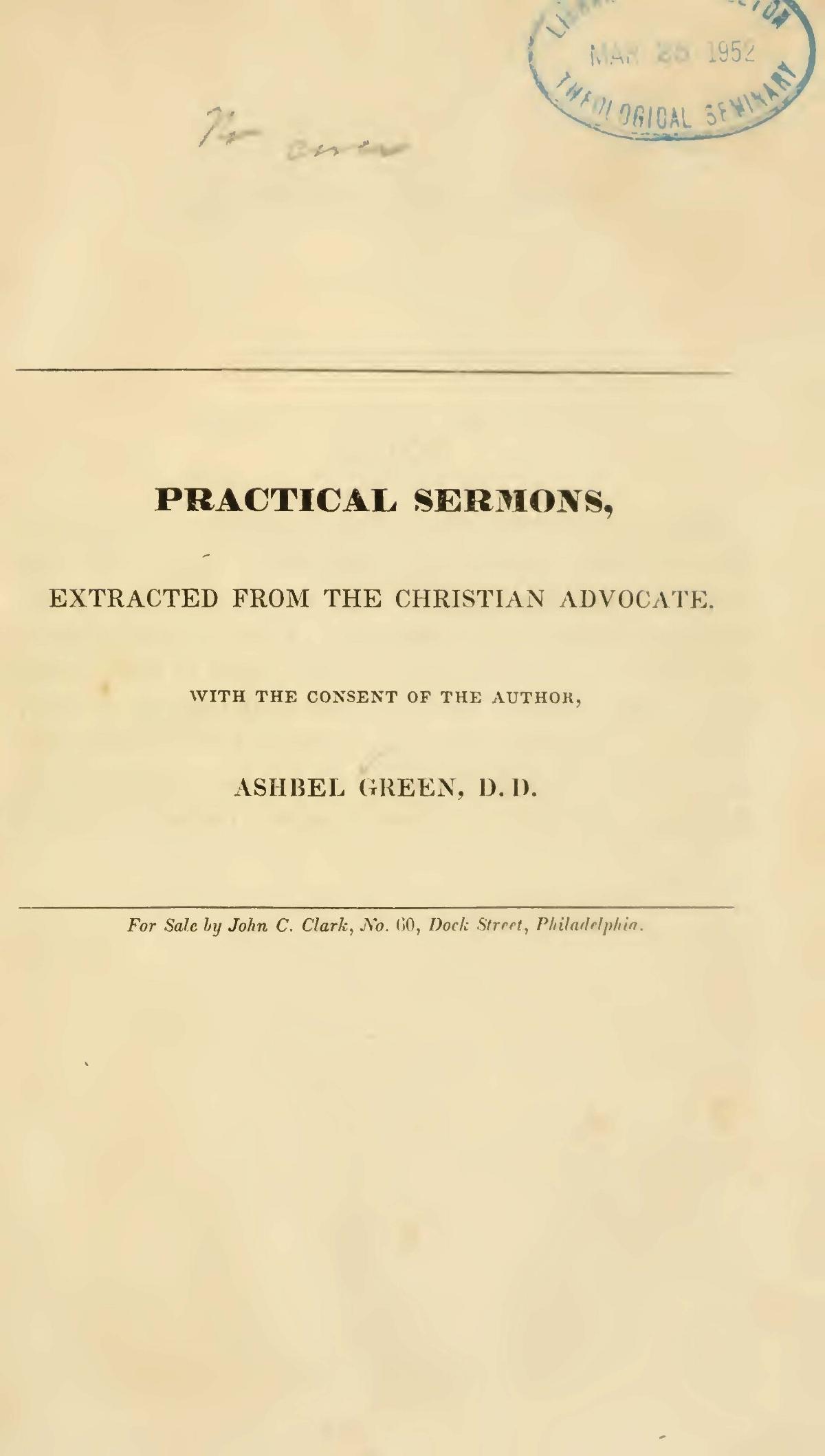Green, Ashbel, Practical Sermons Title Page.jpg