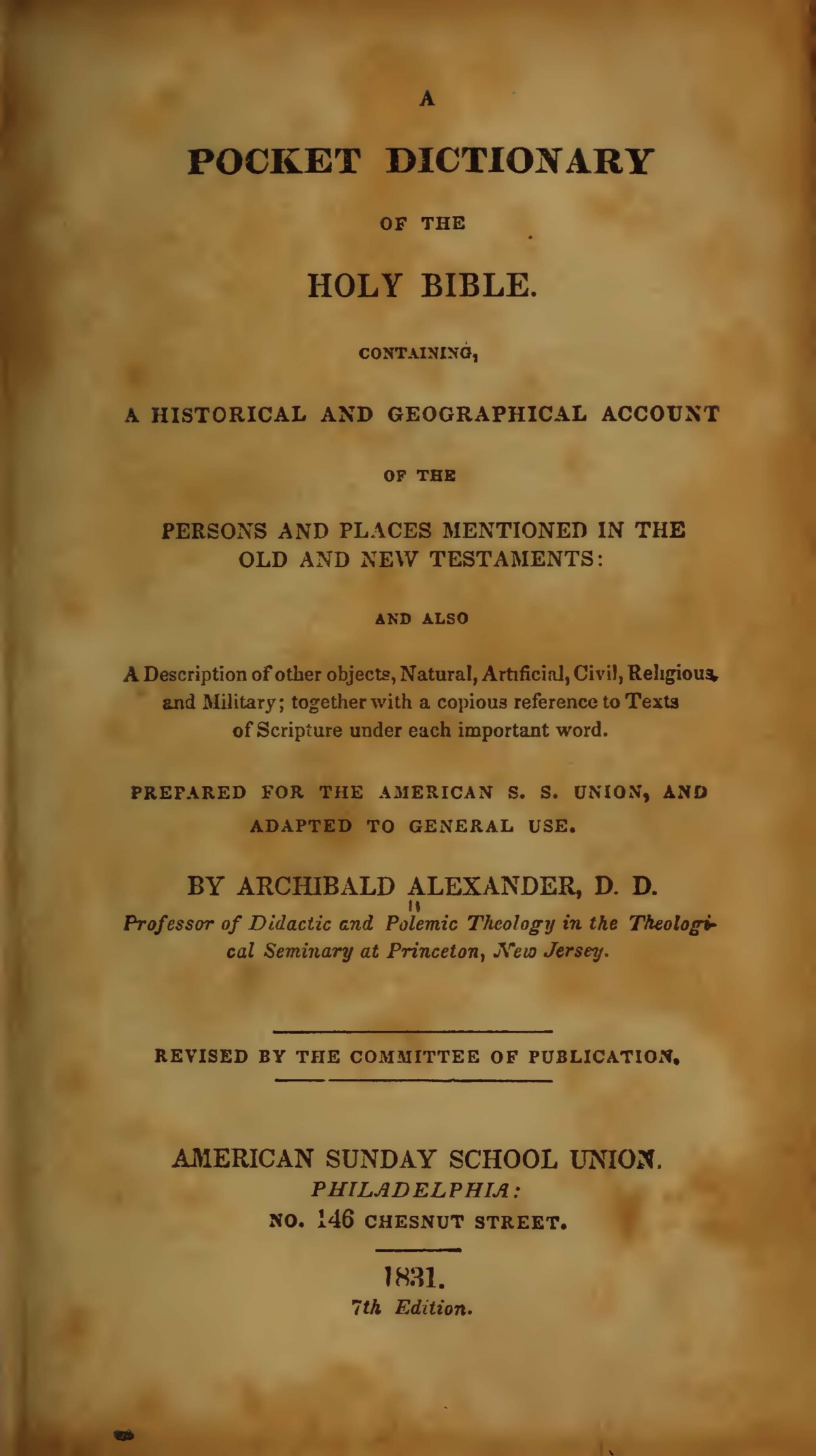 Alexander, Archibald, A Pocket Dictionary of the Holy Bible Title Page.jpg