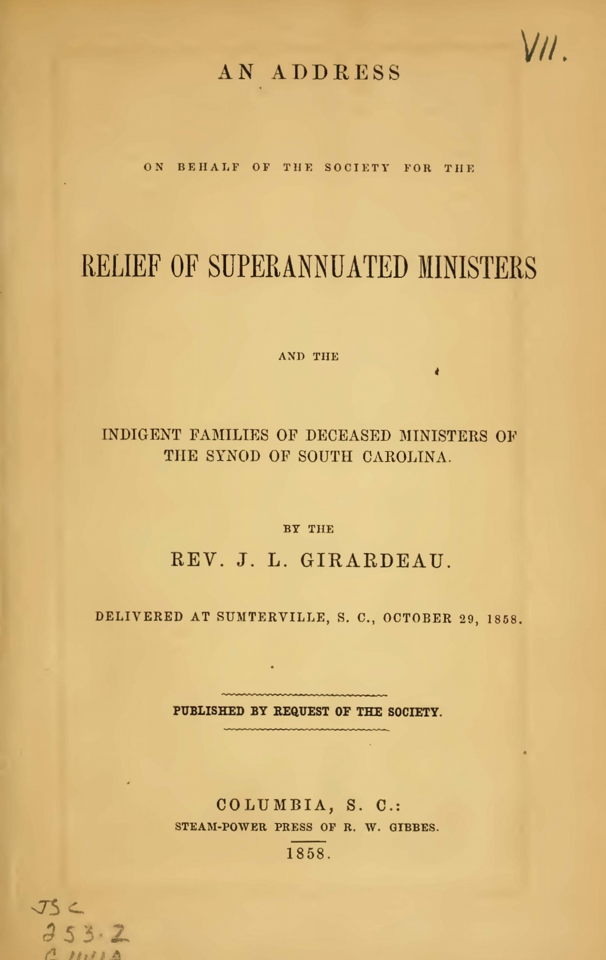 Girardeau, John Lafayette, An Address on Behalf of the Society for the Relief of Superannuated Ministers Title Page.jpg