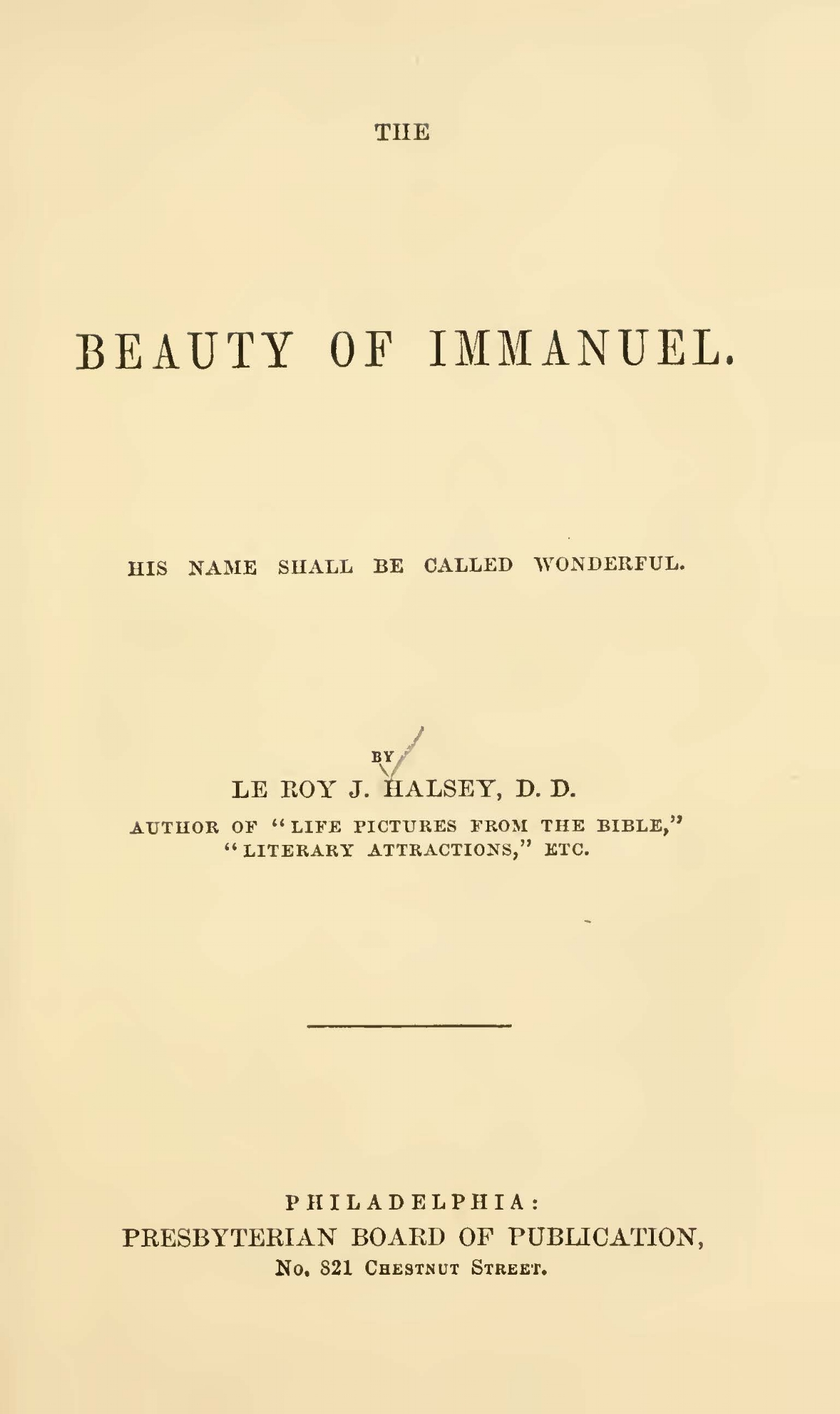 Halsey, Leroy Jones, The Beauty of Immanuel Title Page.jpg