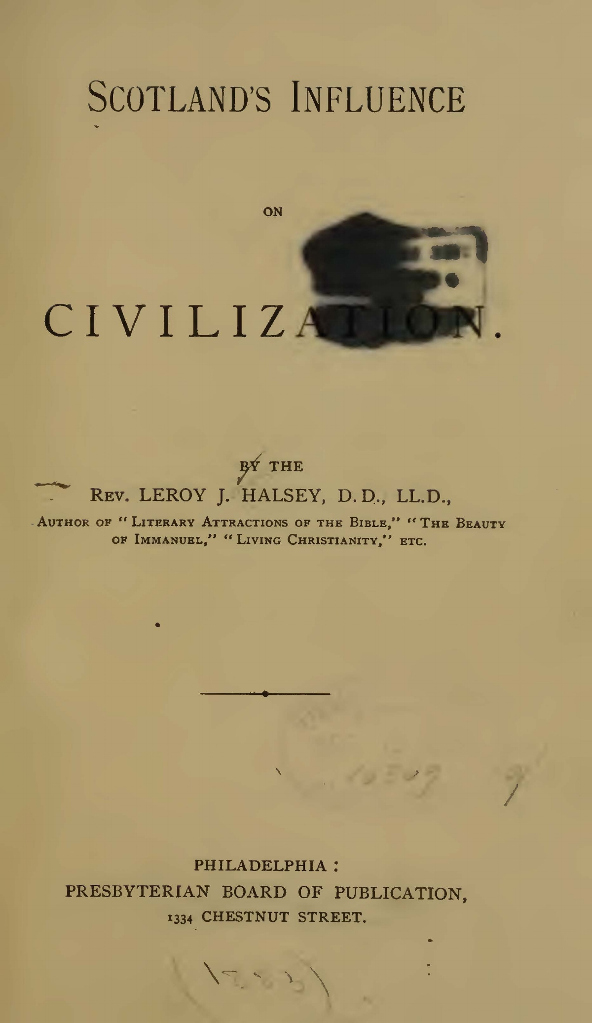 Halsey, Leroy Jones, Scotland's Influence on Civilization Title Page.jpg