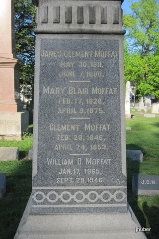James Clement Moffat is buried at Princeton Cemetery, Princeton, New Jersey.