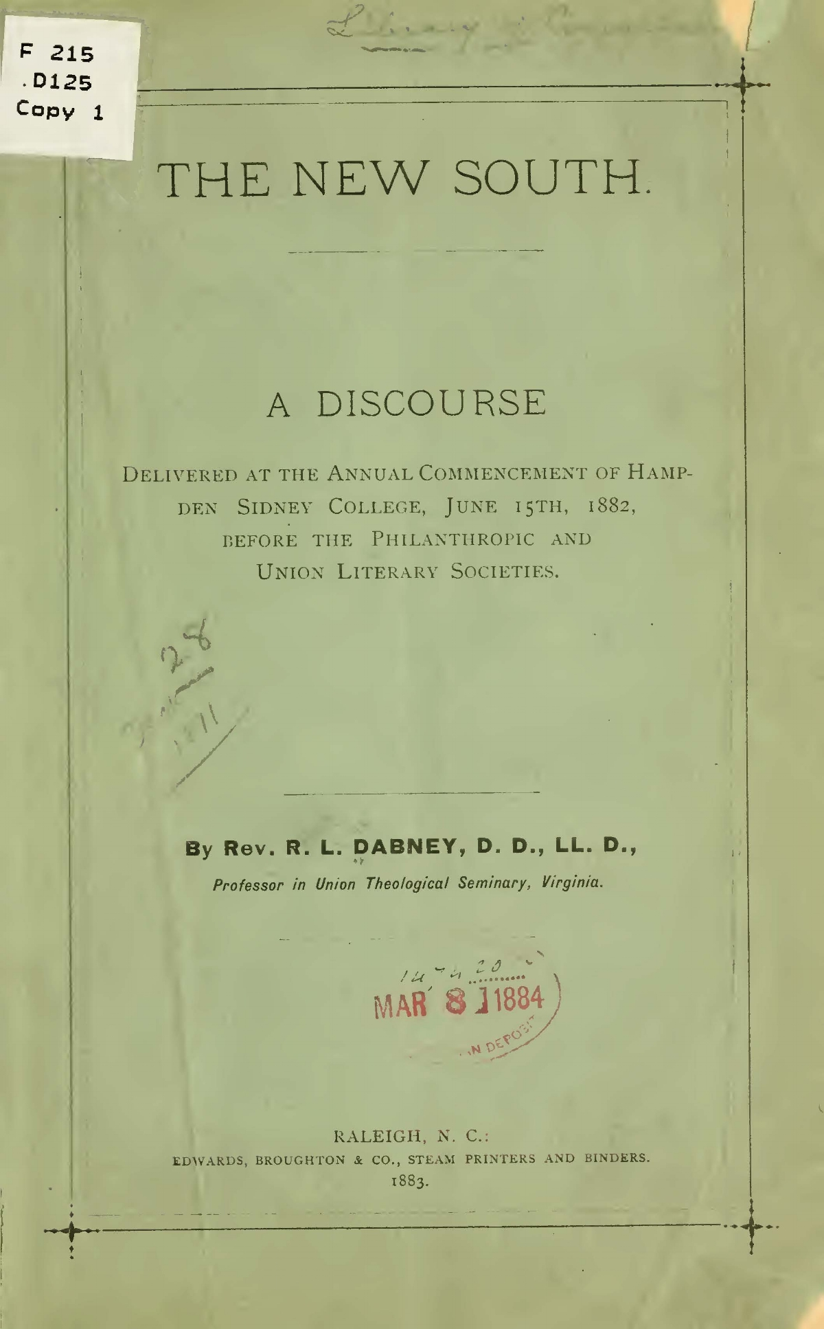 Dabney, Robert Lewis, The New South Title Page.jpg