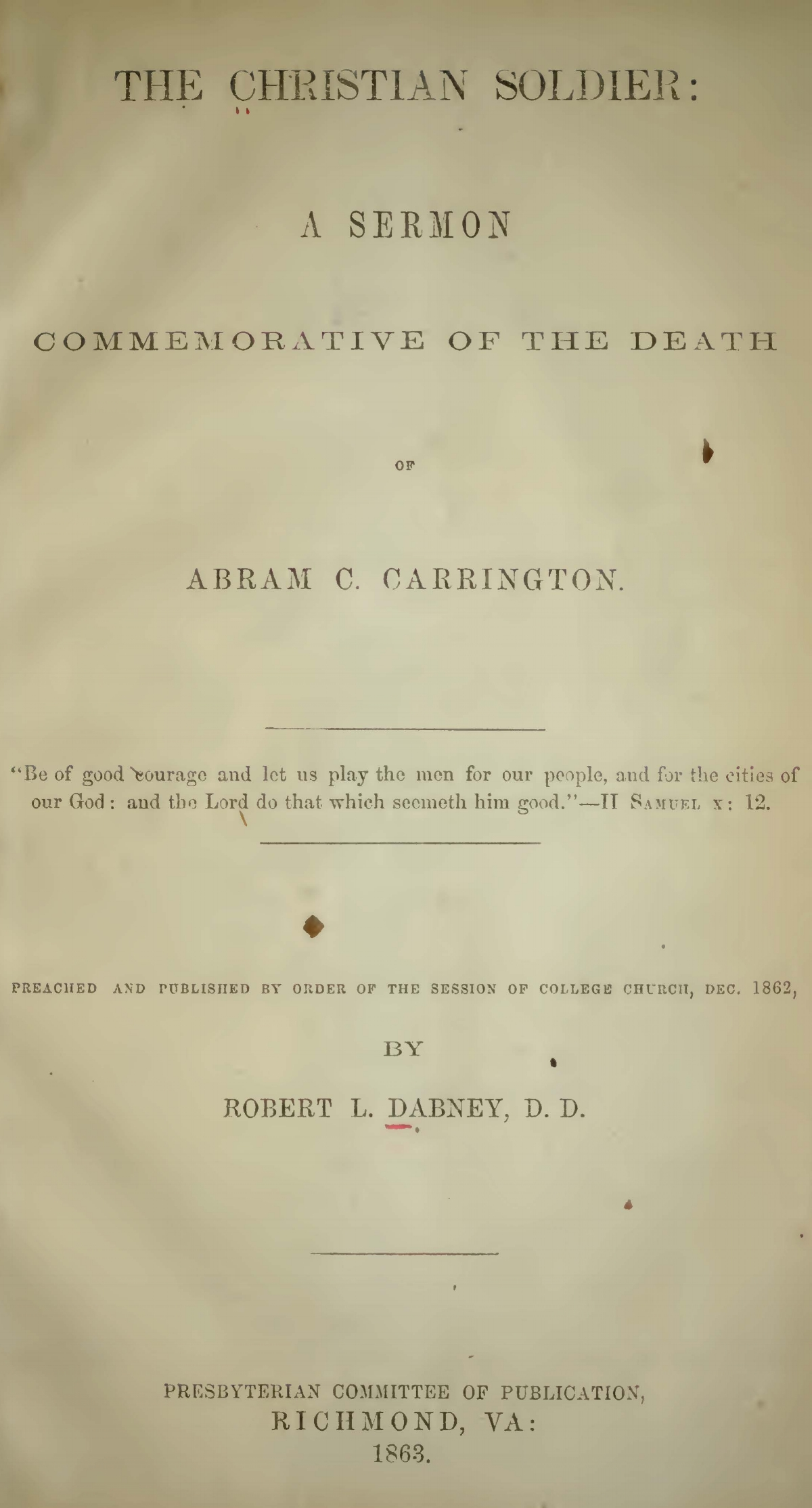Dabney, Robert Lewis, The Christian Soldier Title Page.jpg