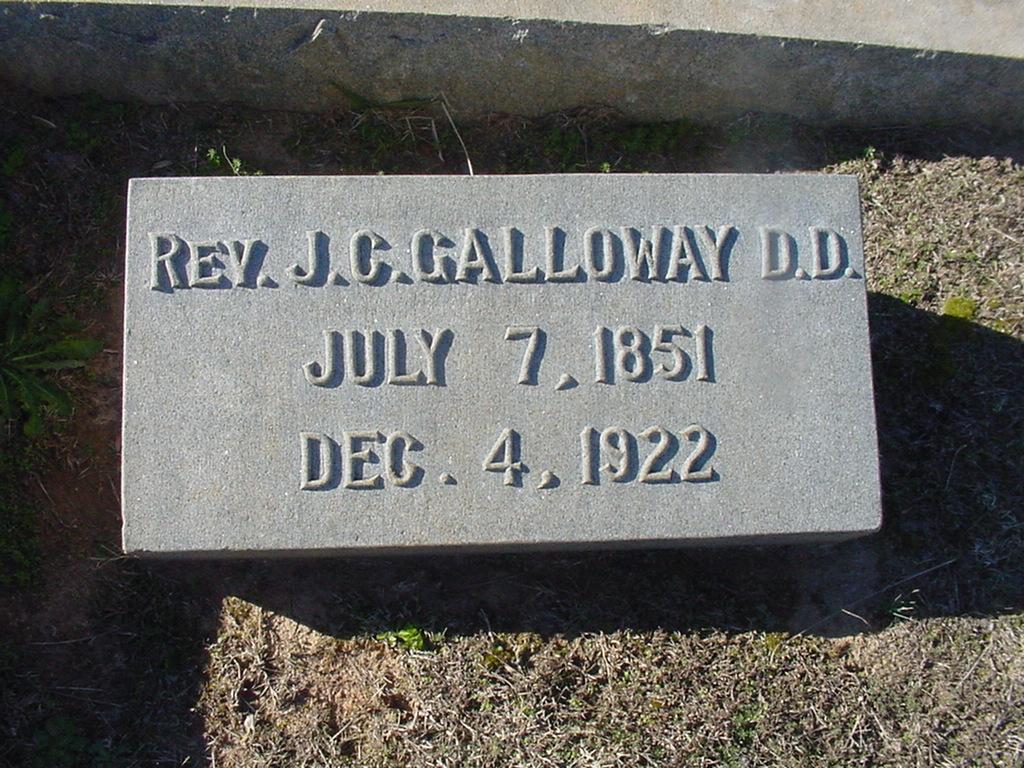 Jonathan Caldwell Galloway is buried at Oakwood Cemetery, Gastonia, North Carolina.