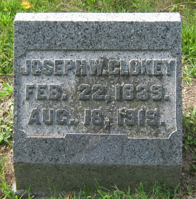 Joseph Waddell Clokey, Sr. is buried at Ferncliff Cemetery, Springfield, Ohio.