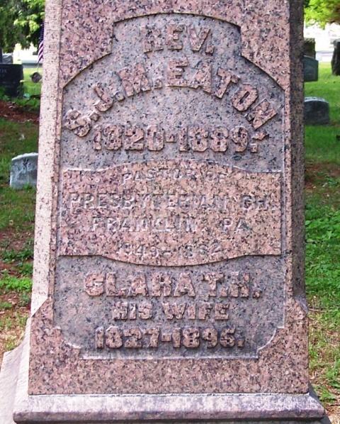 Samuel John Mills Eaton is buried at Franklin Cemetery, Franklin, Pennsylvania.