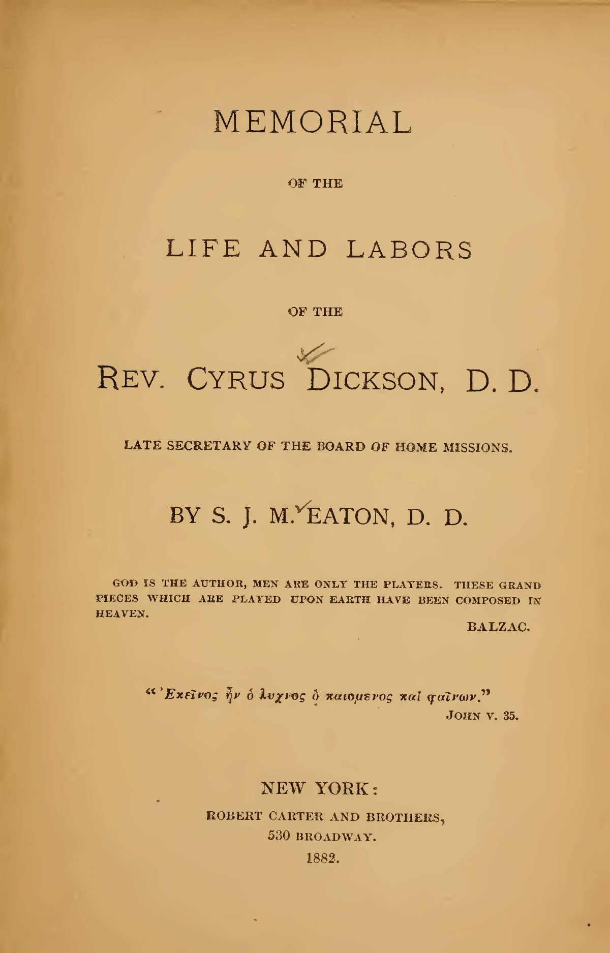 Eaton, Samuel John Mills, Memorial of the Life and Labors of the Rev. Cyrus Dickson Title Page.jpg