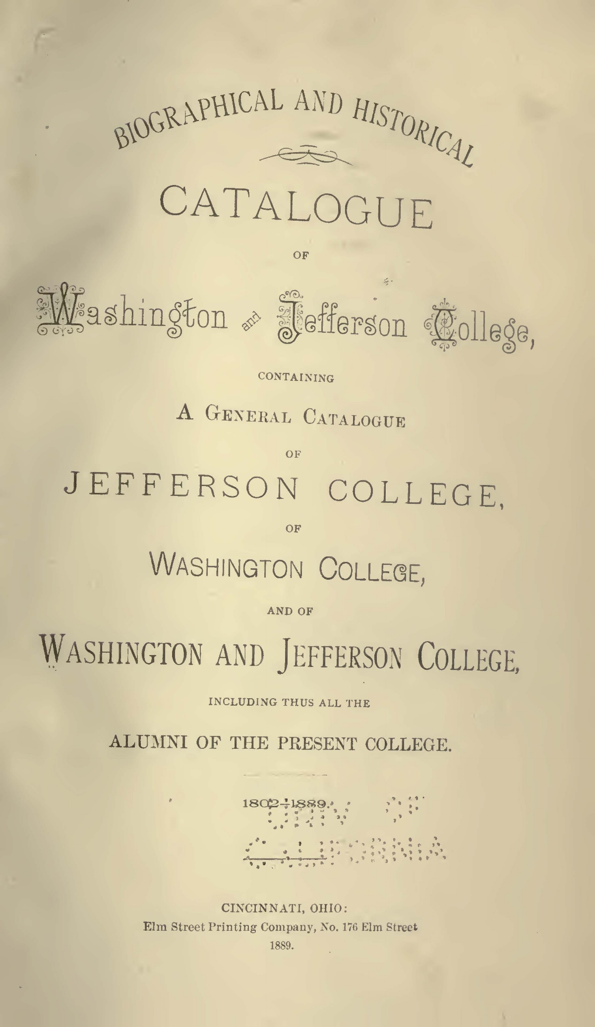 Eaton, Samuel John Mills, Biographical and Historical Catalogue of Washington and Jefferson College Title Page.jpg