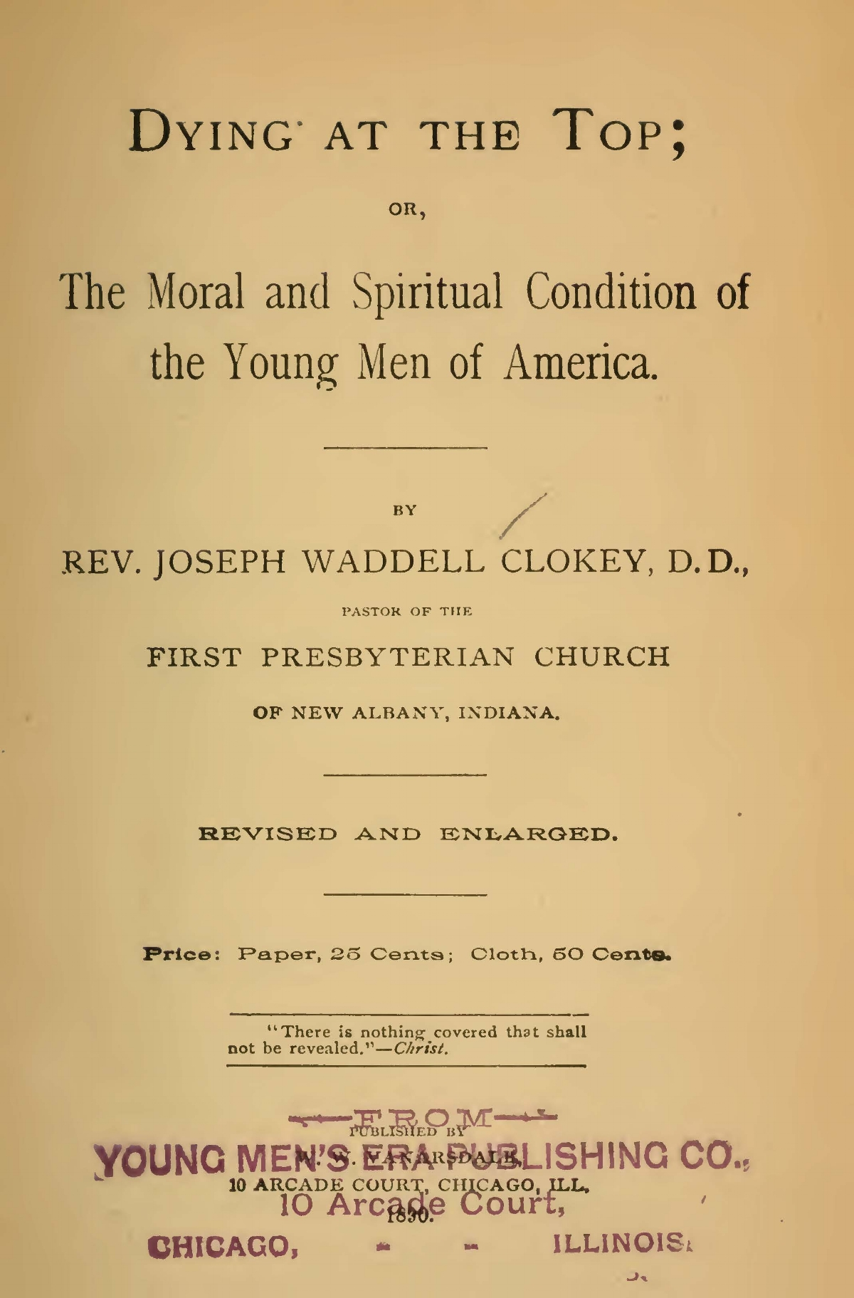 Clokey, Sr., Joseph Waddell, Dying at the Top Title Page.jpg