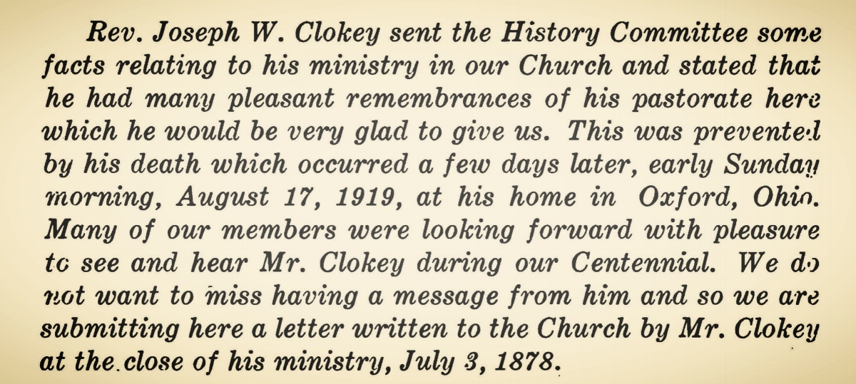 Clokey, Sr., Joseph Waddell, Letter to the First Presbyterian Church of Middletown, Ohio Title Page.jpg