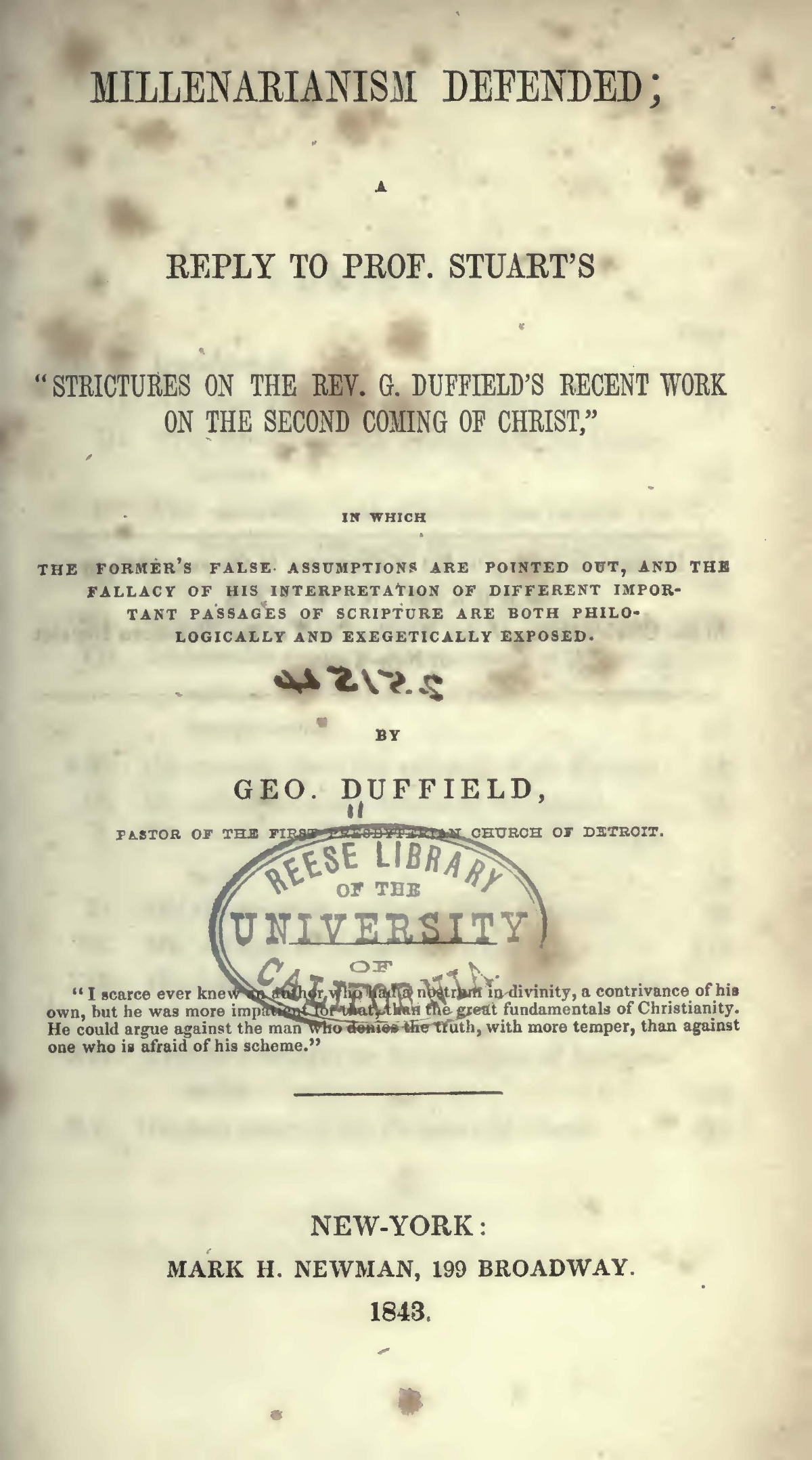 Duffield, IV, George, Millenarianism Defended Title Page.jpg