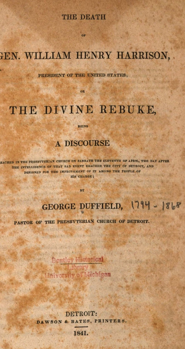 Duffield, IV, George, The Death of Gen. William Henry Harrison Title Page.jpg