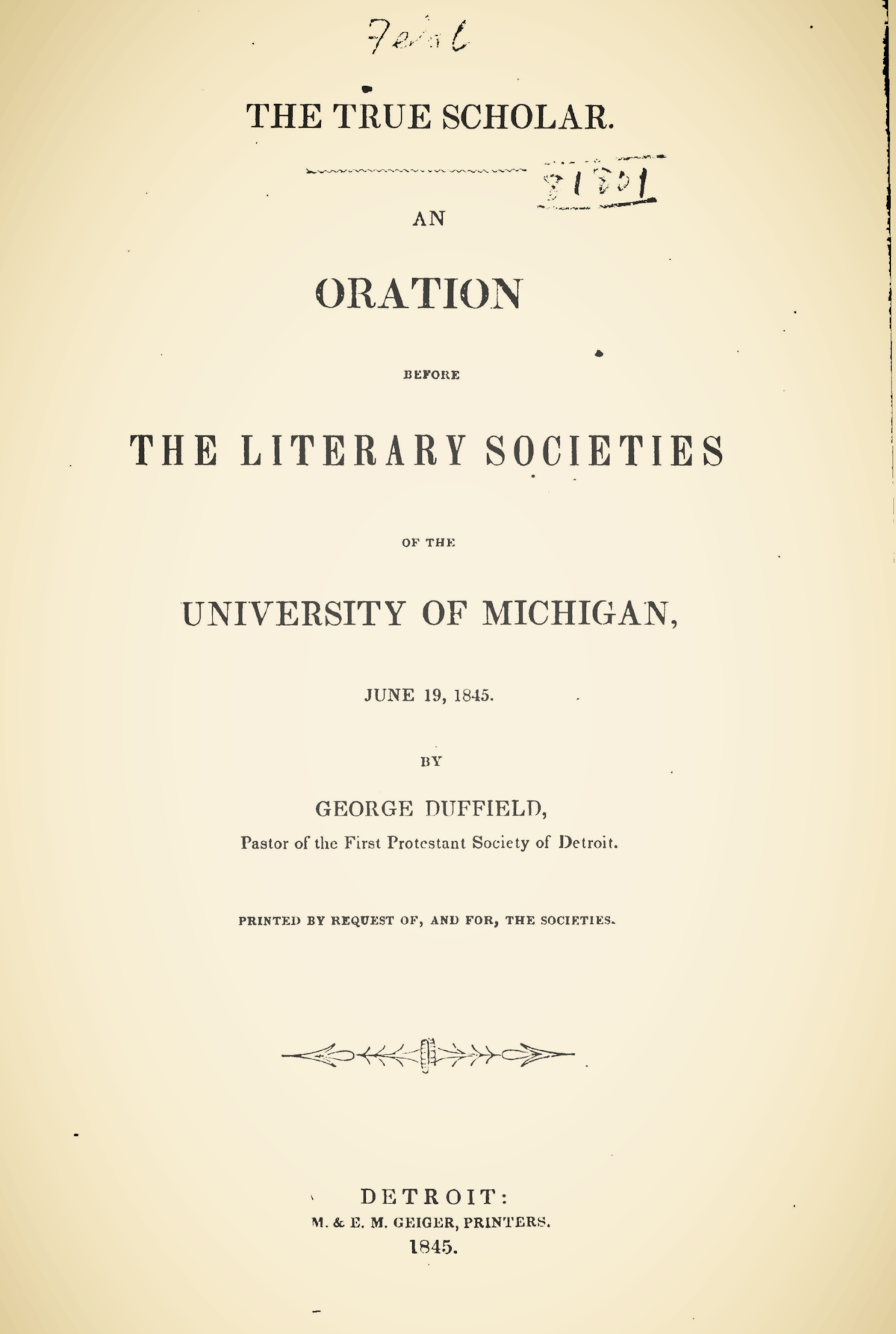 Duffield, IV, George, The True Scholar Title Page.jpg