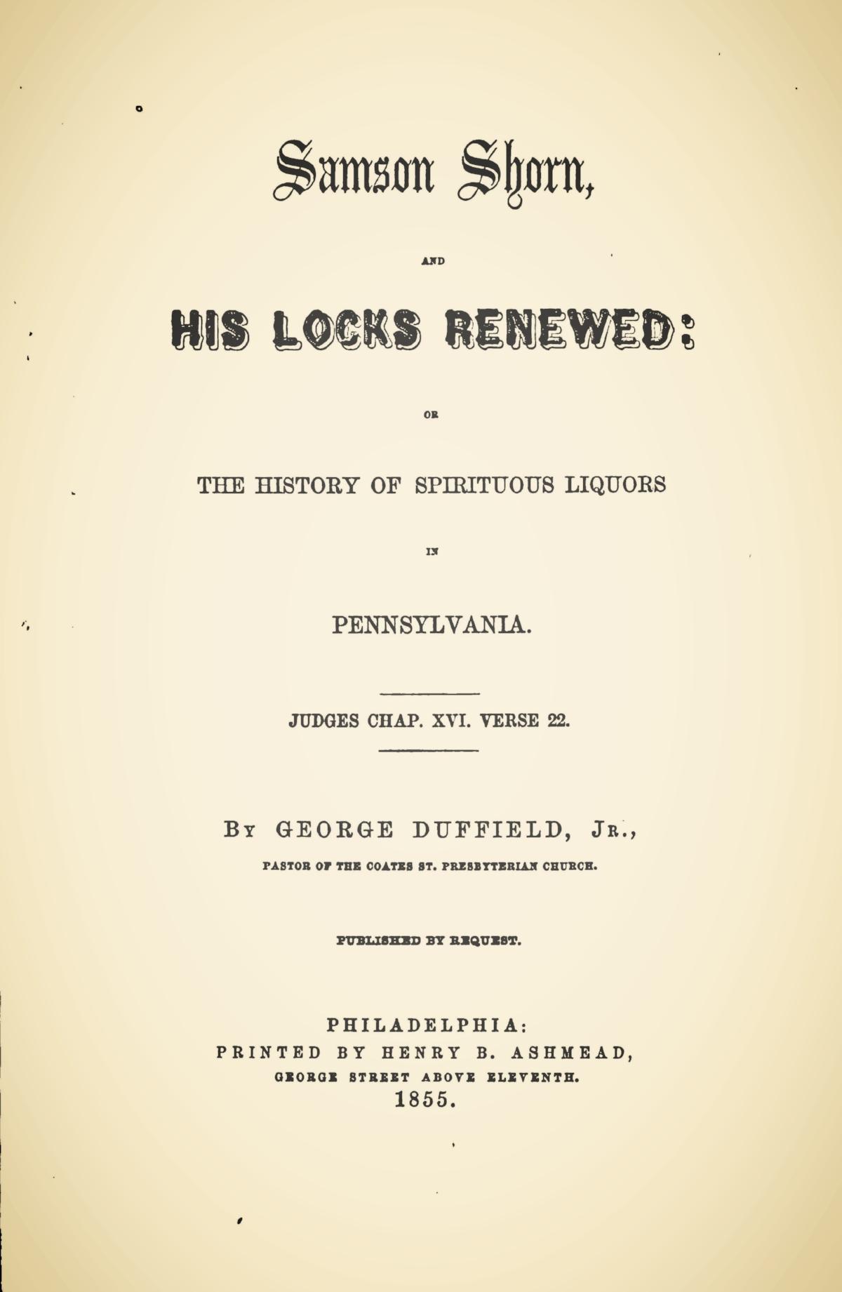 Duffield, IV, George, Samson Shorn, and His Locks Renewed Title Page.jpg