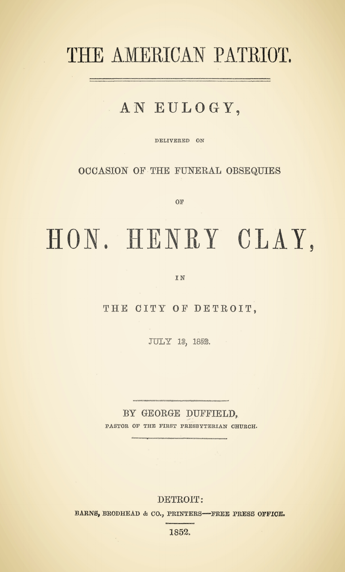 Duffield, IV, George, The American Patriot Title Page.jpg