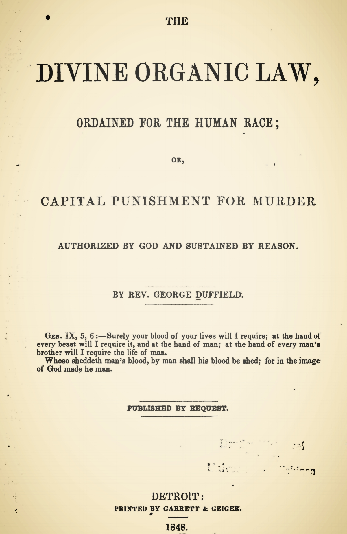 Duffield, IV, George, The Divine Organic Law Title Page.jpg