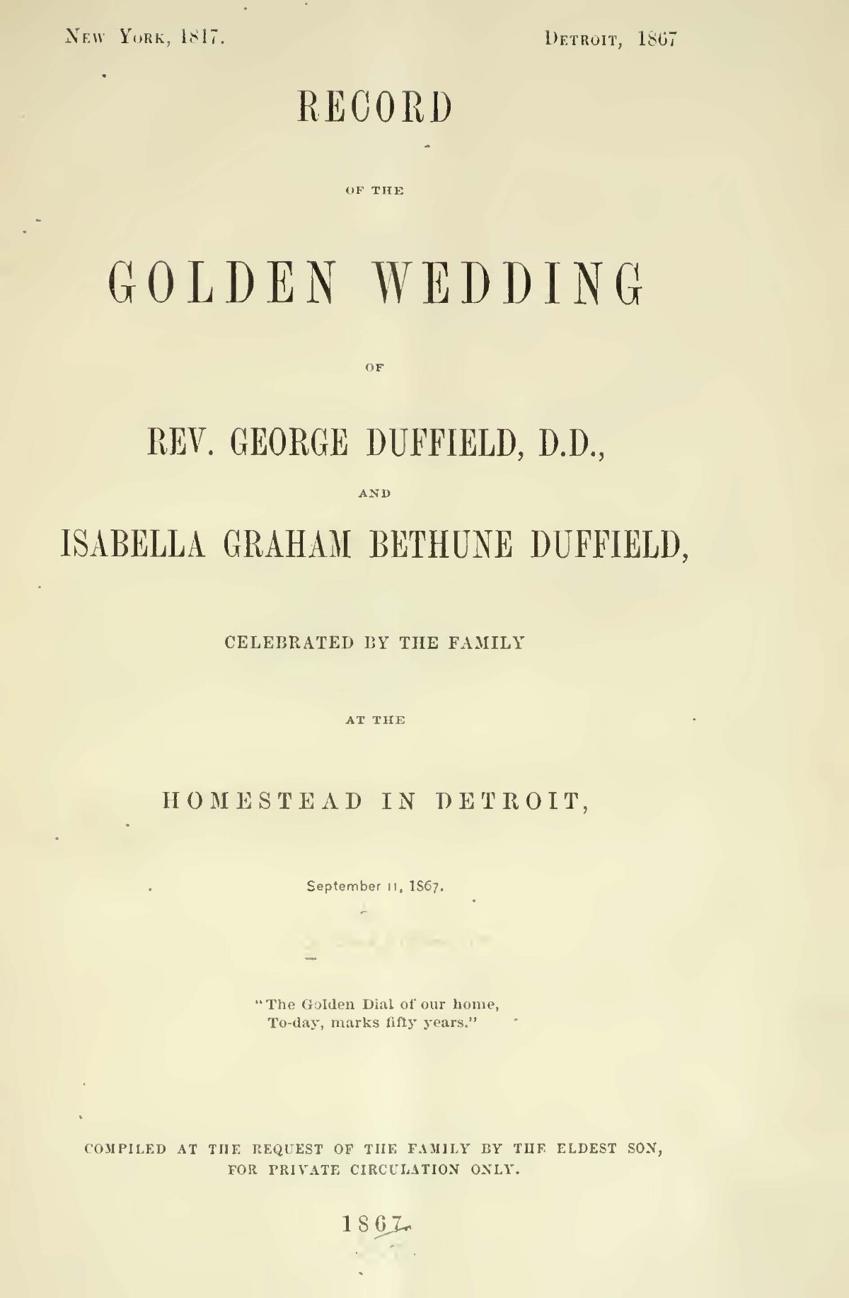Duffield, V, George, Record of the Golden Wedding Title Page.jpg