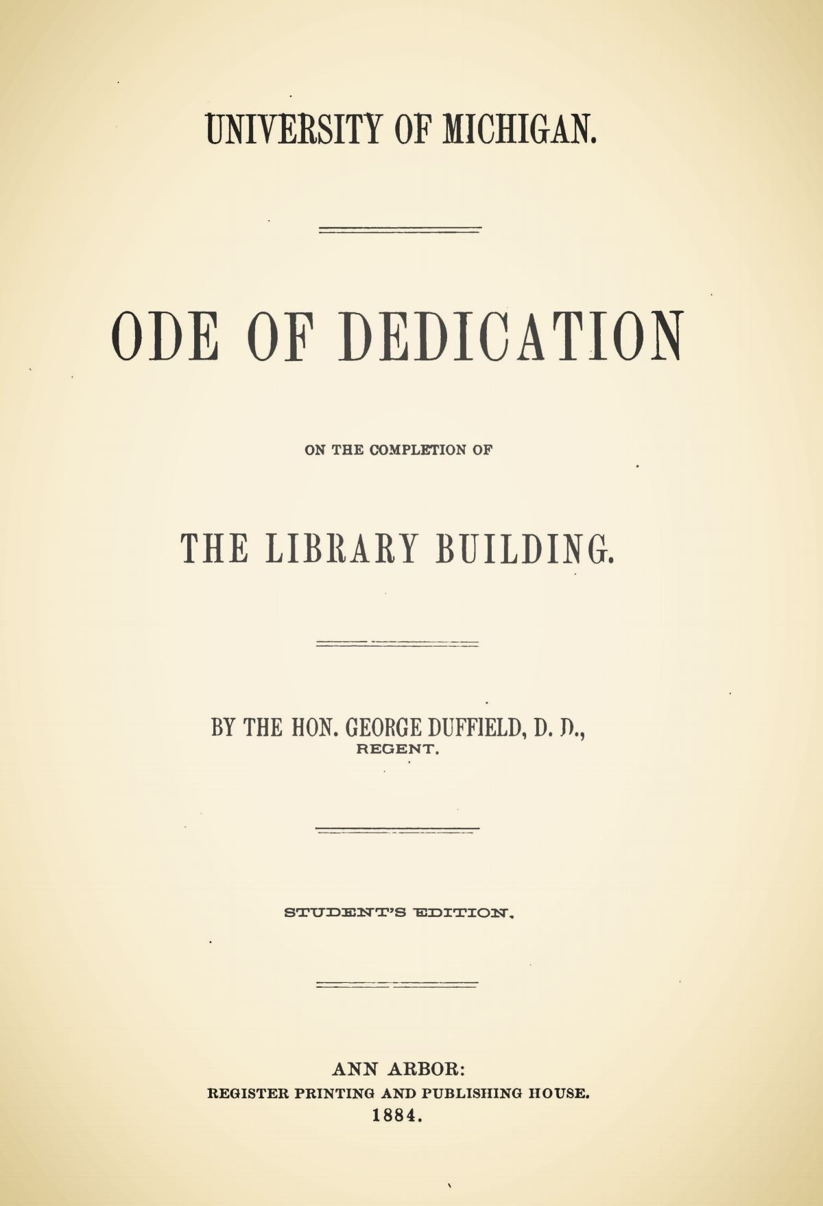 Duffield, V, George, Ode of Dedication on the Completion of the Library Building Title Page.jpg