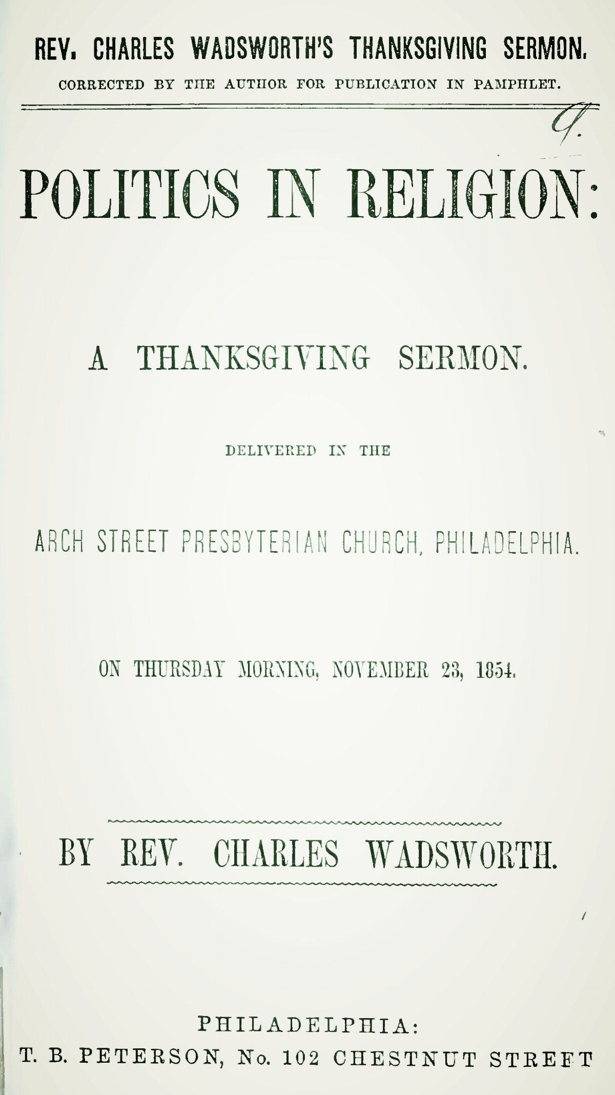Wadsworth, Charles, Politics in Religion A Thanksgiving Sermon Title Page.jpg