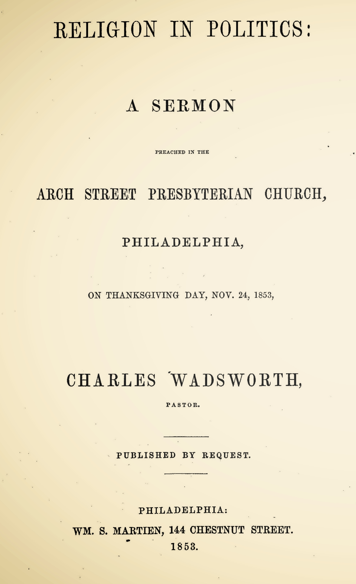 Wadsworth, Charles, Religion in Politics Title Page.jpg