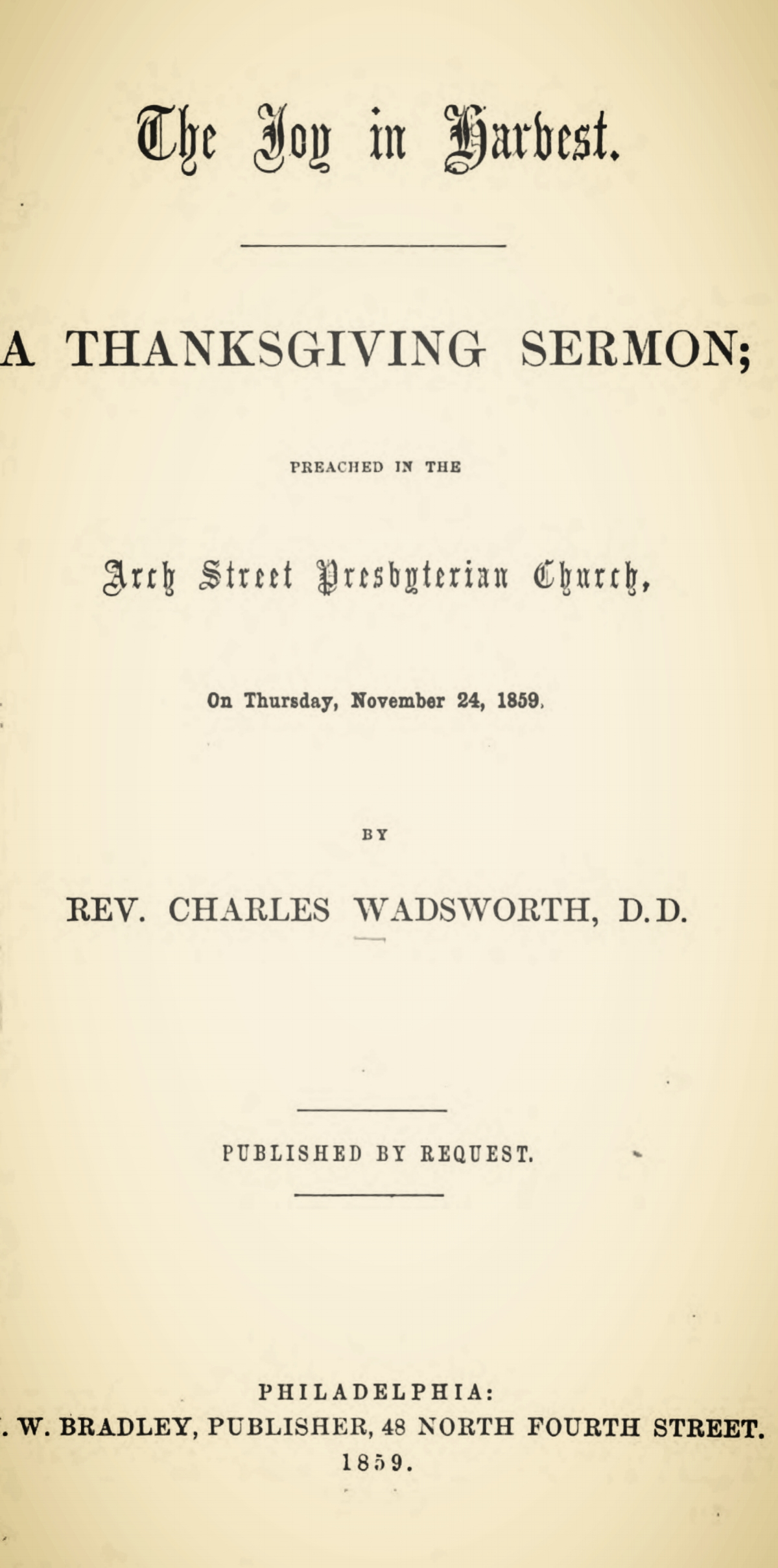 Wadsworth, Charles, The Joy in Harvest Title Page.jpg