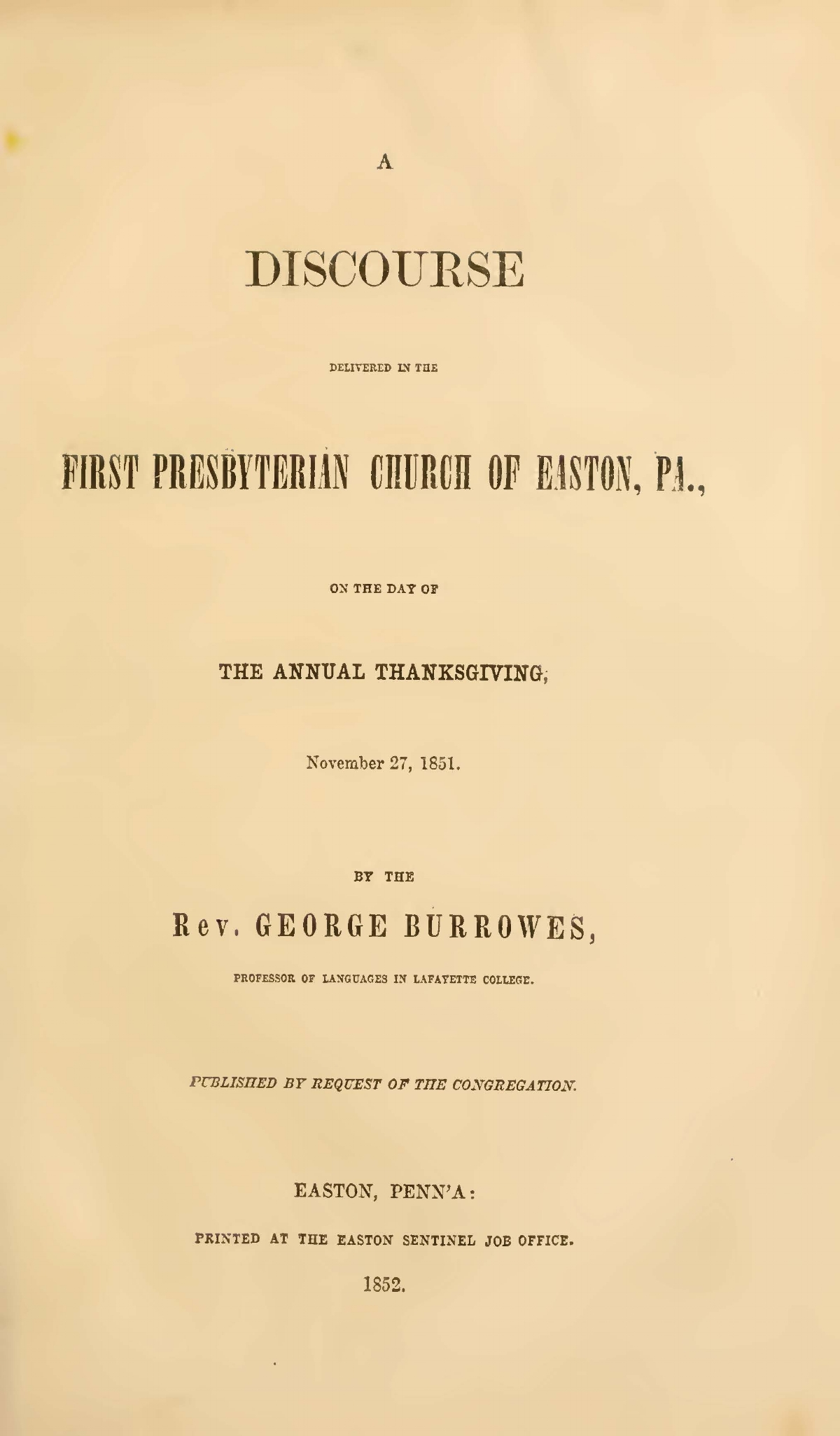 Burrowes, George, A Thanksgiving Discourse Title Page.jpg