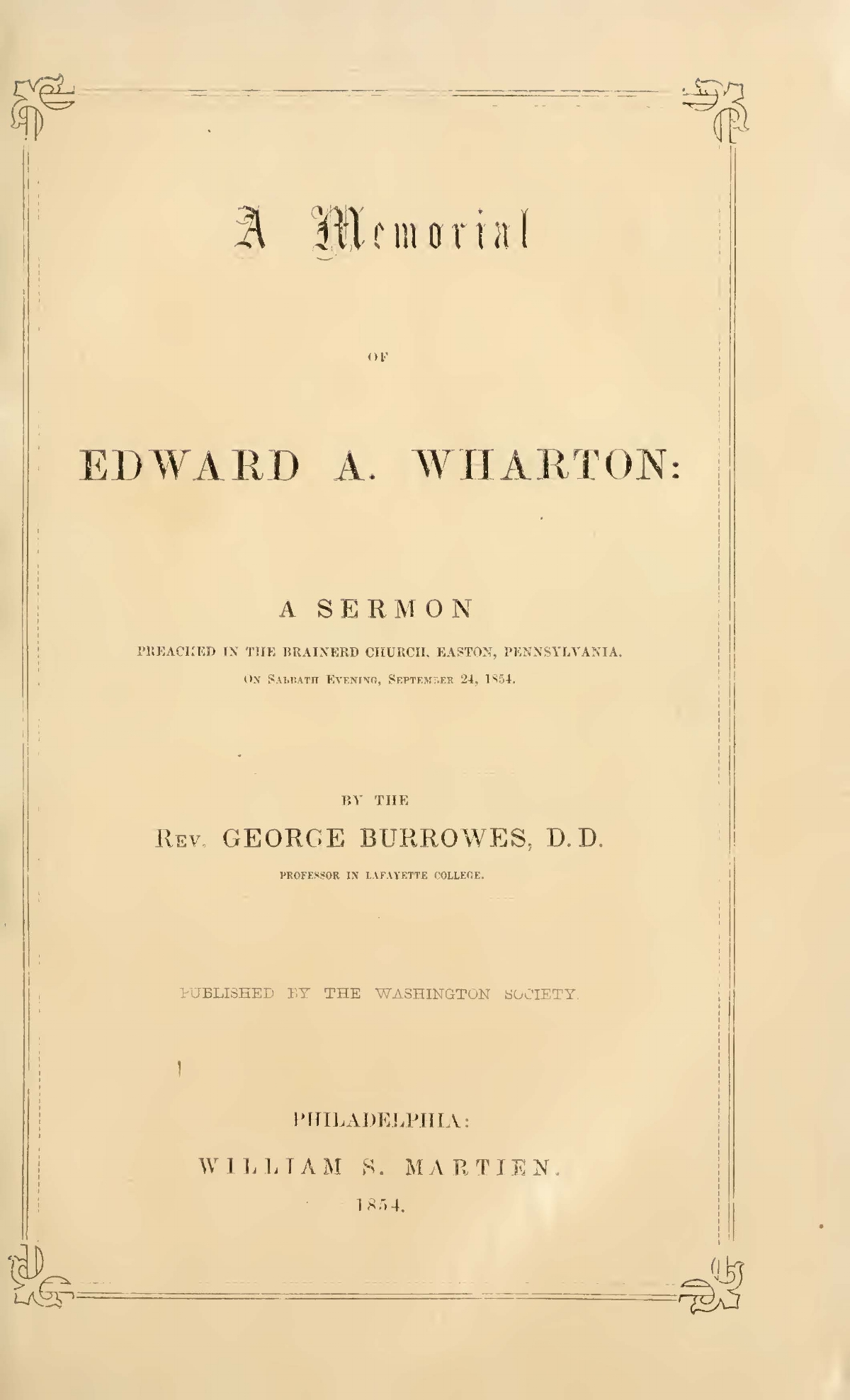 Burrowes, George, Memorial of Edward A. Wharton Title Page.jpg
