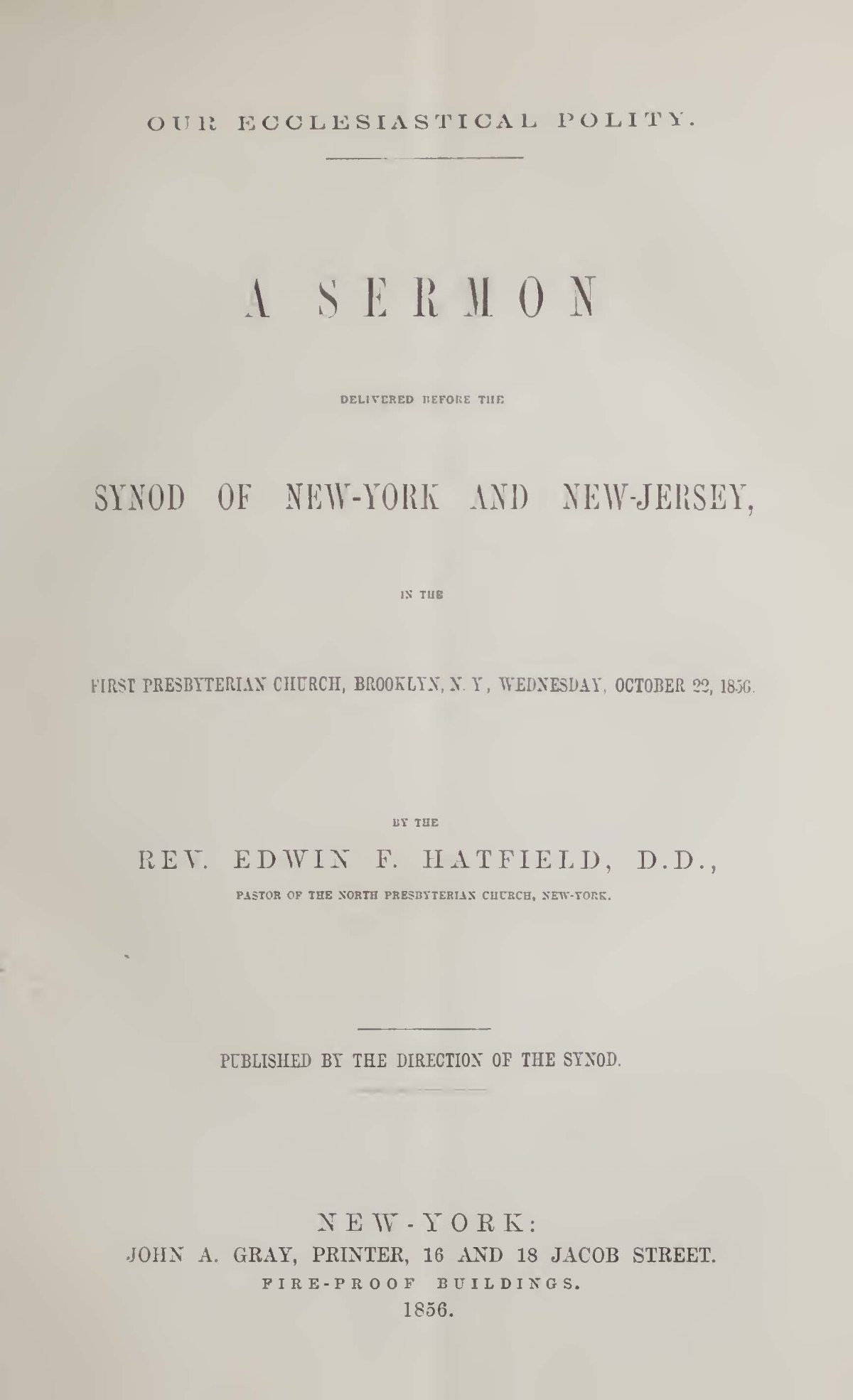 Hatfield, Edwin Francis, Our Ecclesiastical Polity Title Page.jpg