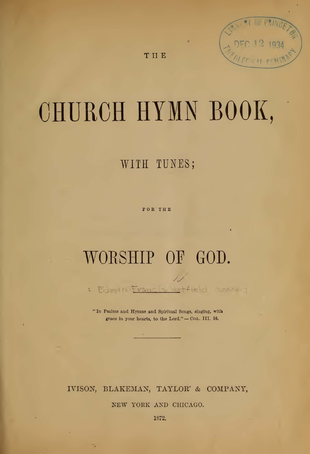 Hatfield, Edwin Francis, The Church Hymn Book With Tunes Title Page.jpg