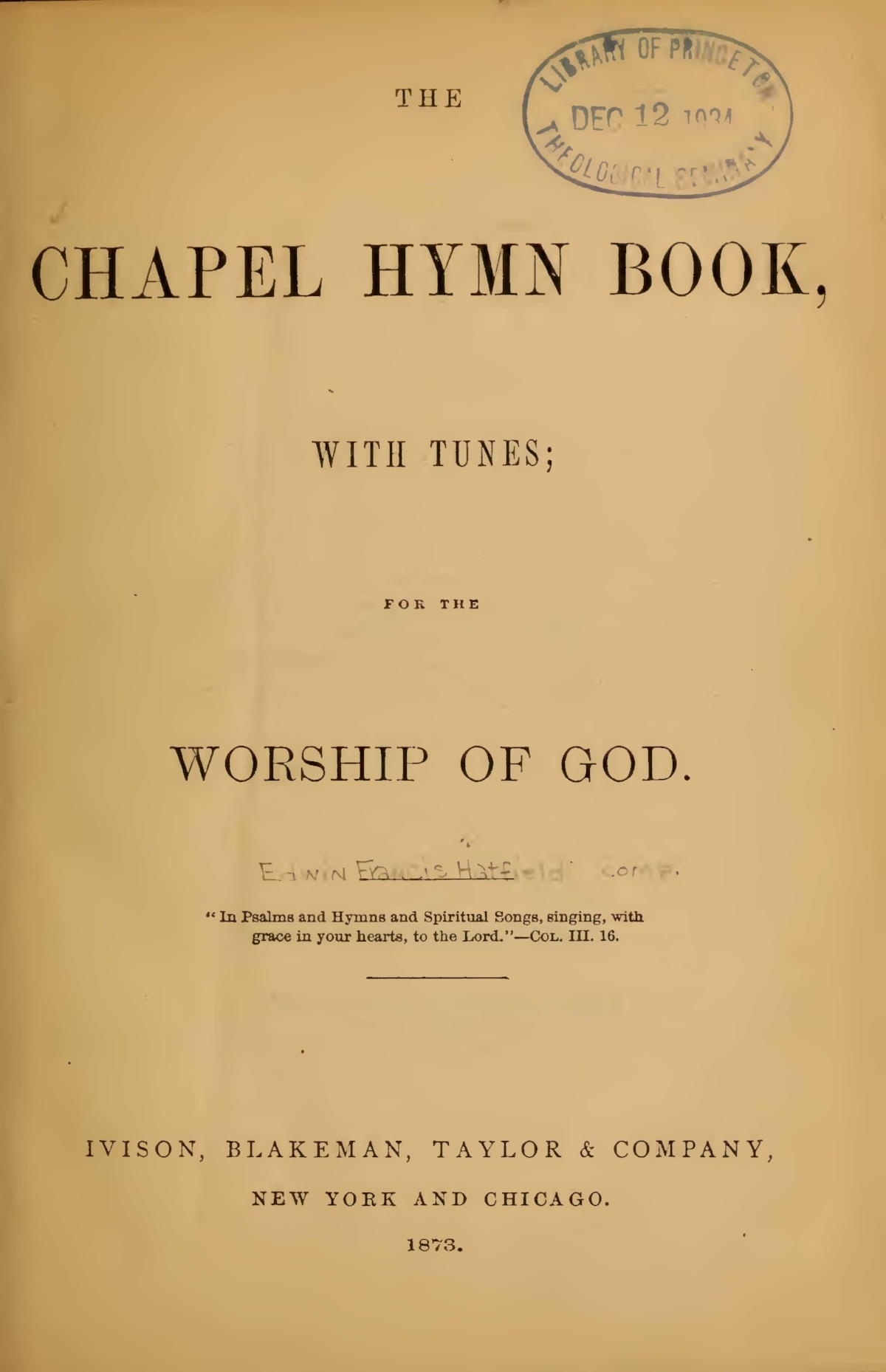 Hatfield, Edwin Francis, The Chapel Hymn Book Title Page.jpg