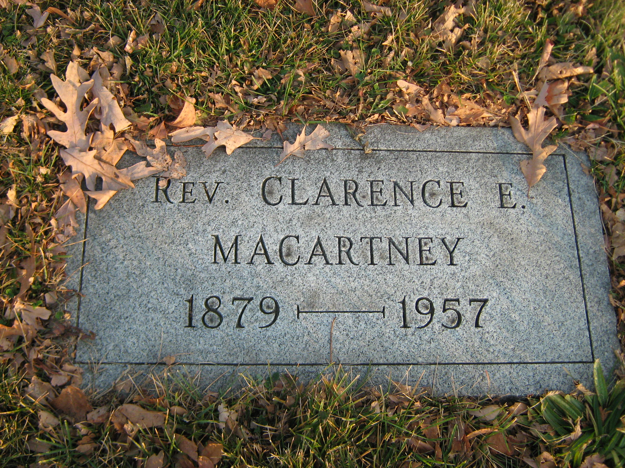 Clarence Edward Noble Macartney is buried at Grandview Cemetery, Beaver Falls, Pennsylvania.