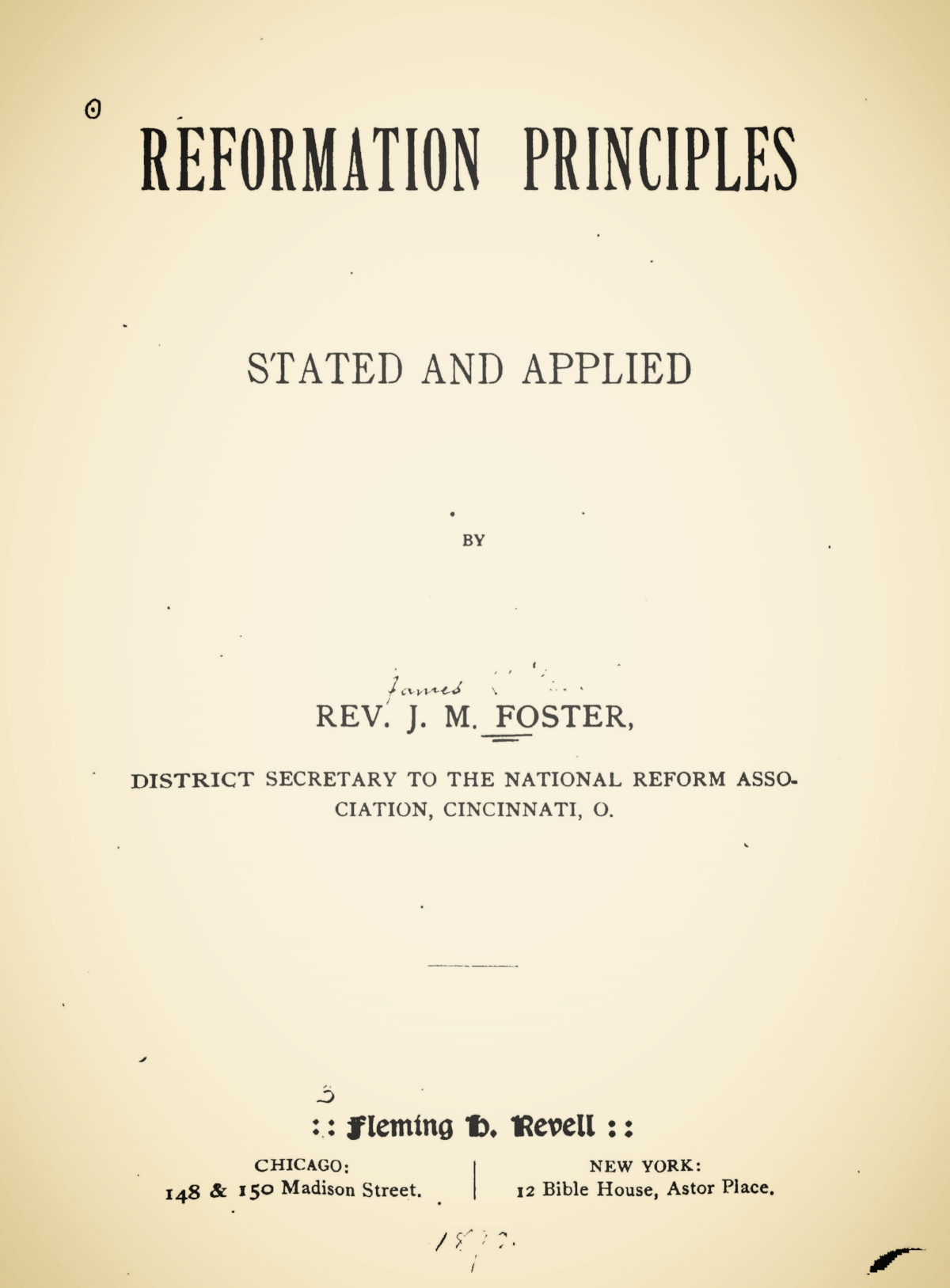 Foster, James Mitchell, Reformation Principles Stated and Applied Title Page.jpg