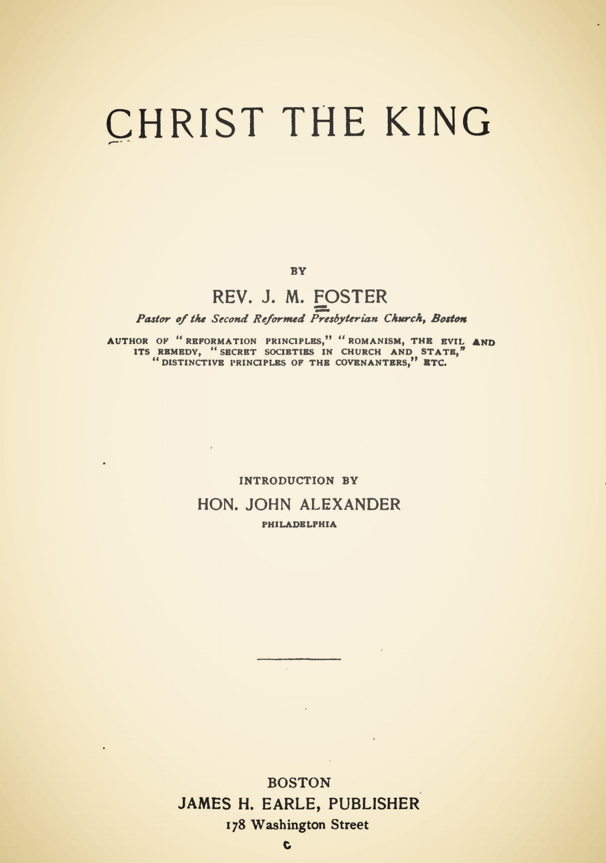 Foster, James Mitchell, Christ the King Title Page.jpg