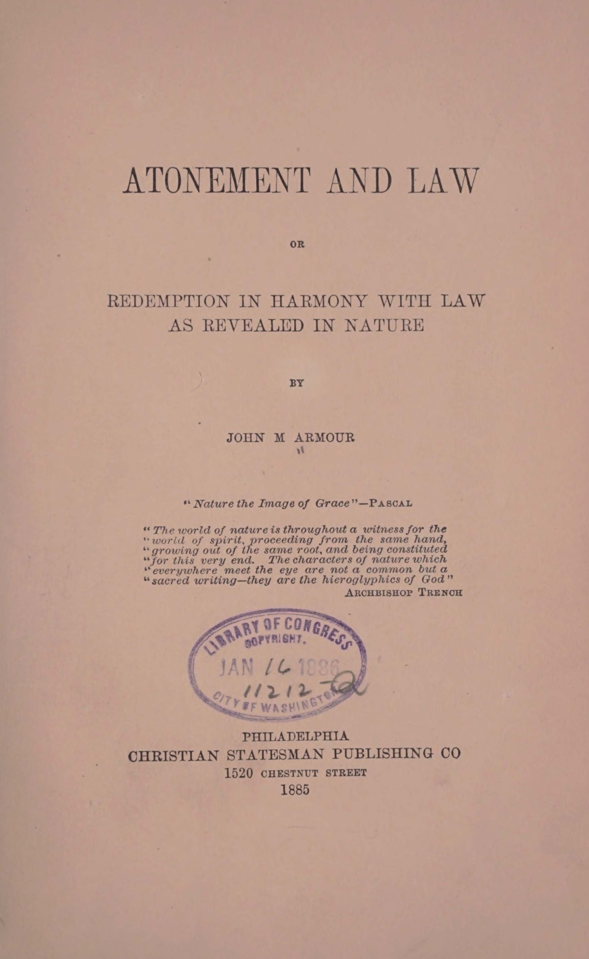 Armour, John McLaughlin, Atonement and Law Title Page.jpg