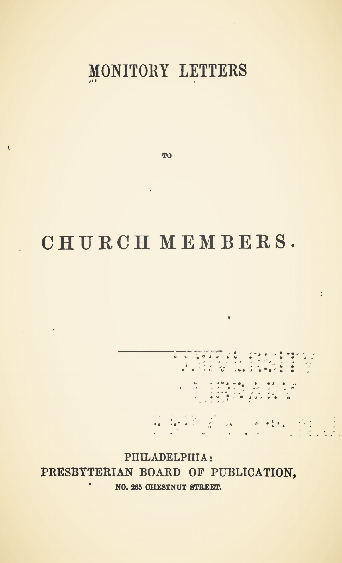 Sprague, William Buell, Monitory Letters to Church Members Title Page.jpg