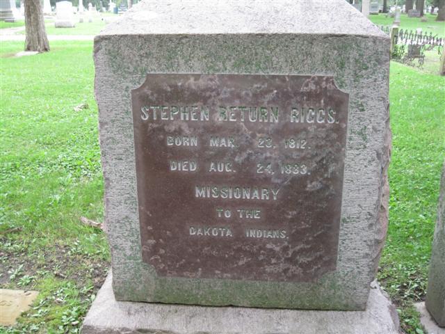 Stephen Return Riggs is buried at Oakwood Cemetery, Beloit, Wisconsin.
