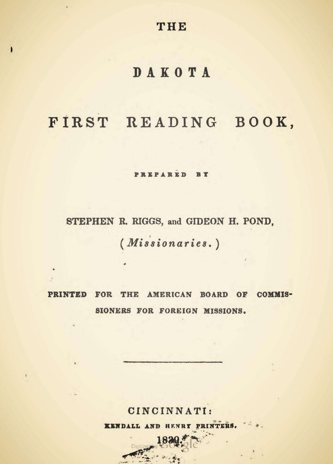 Riggs, Stephen Return, The Dakota First Reading Book Title Page.jpg