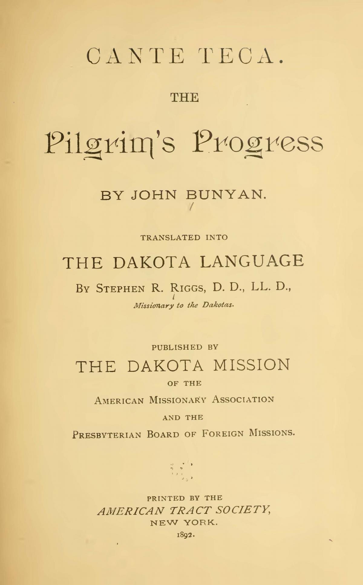 Riggs, Stephen Return, Cante Teca The Pilgrim's Progress Title Page.jpg