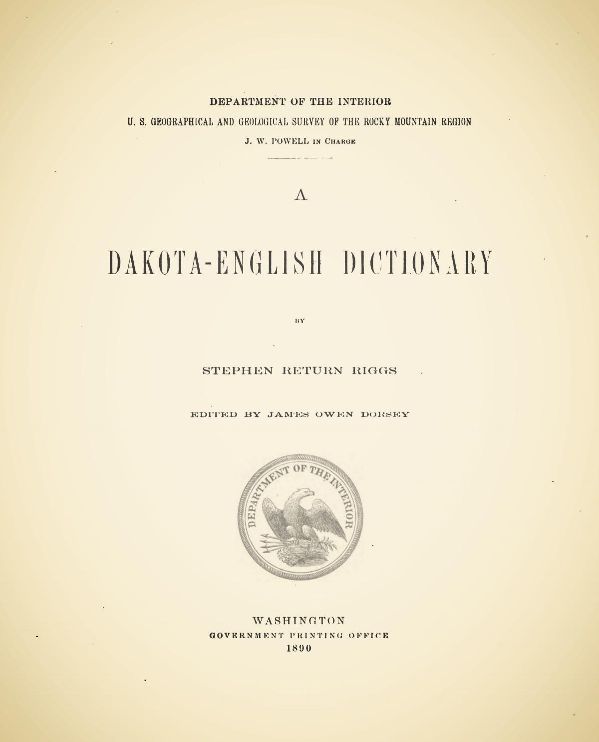 Riggs, Stephen Return, A Dakota-English Dictionary Title Page.jpg