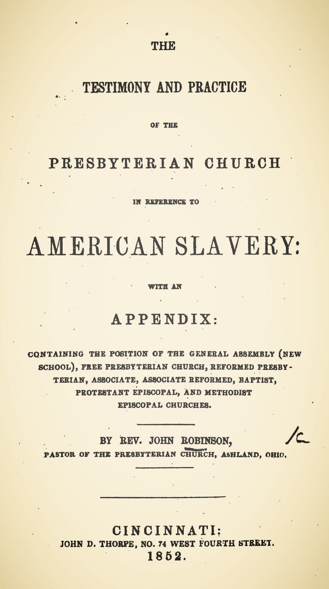 Robinson, John, The Testimony and Practice of the Presbyterian Church in Reference to American Slavery Title Page.jpg