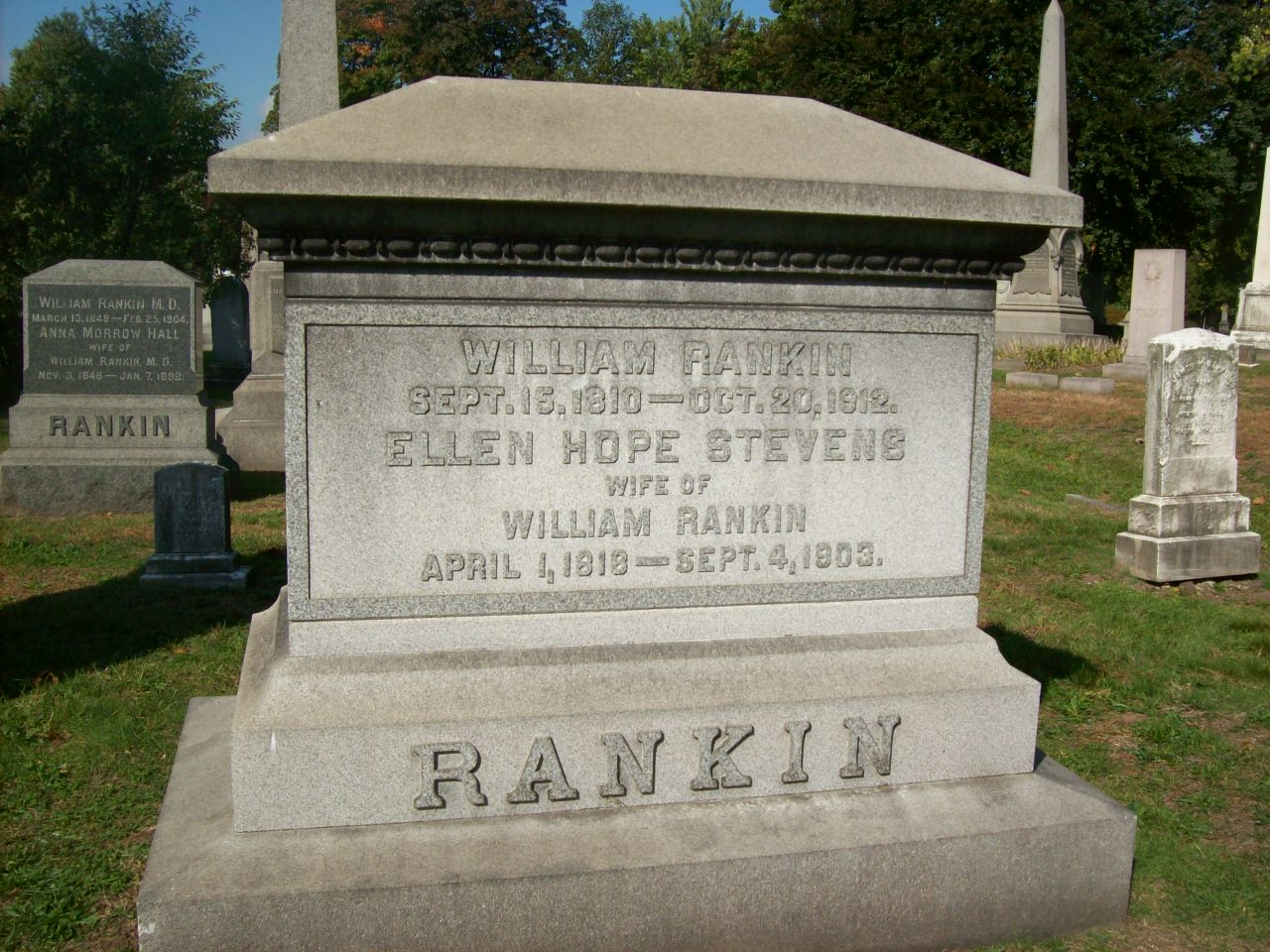 William Rankin, Jr. is buried at Mount Pleasant Cemetery, Newark, New Jersey.