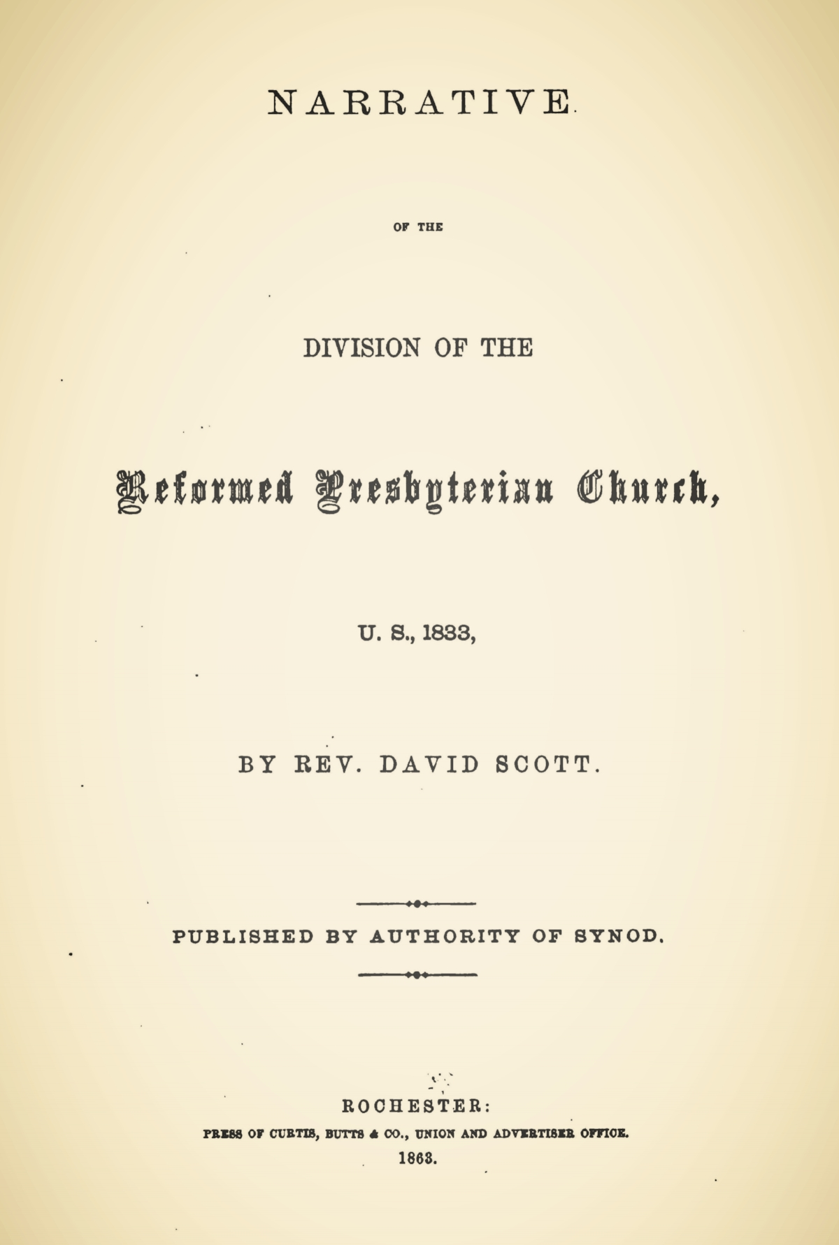 Scott, David, Narrative of the Division of the Reformed Presbyterian Church, U.S., 1833 Title Page.jpg