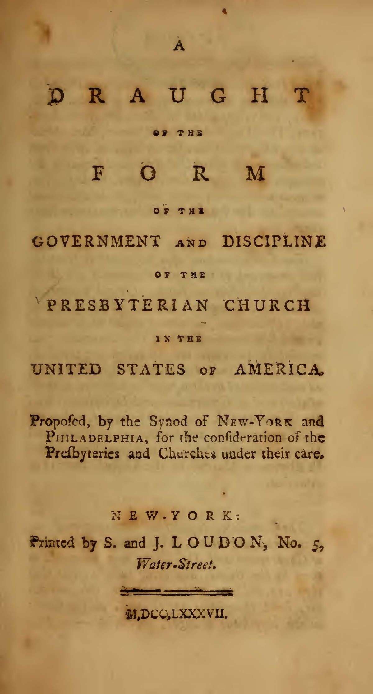 Rodgers, John, A Draught of the Form of the Government and Discipline of the PCUSA Title Page.jpg